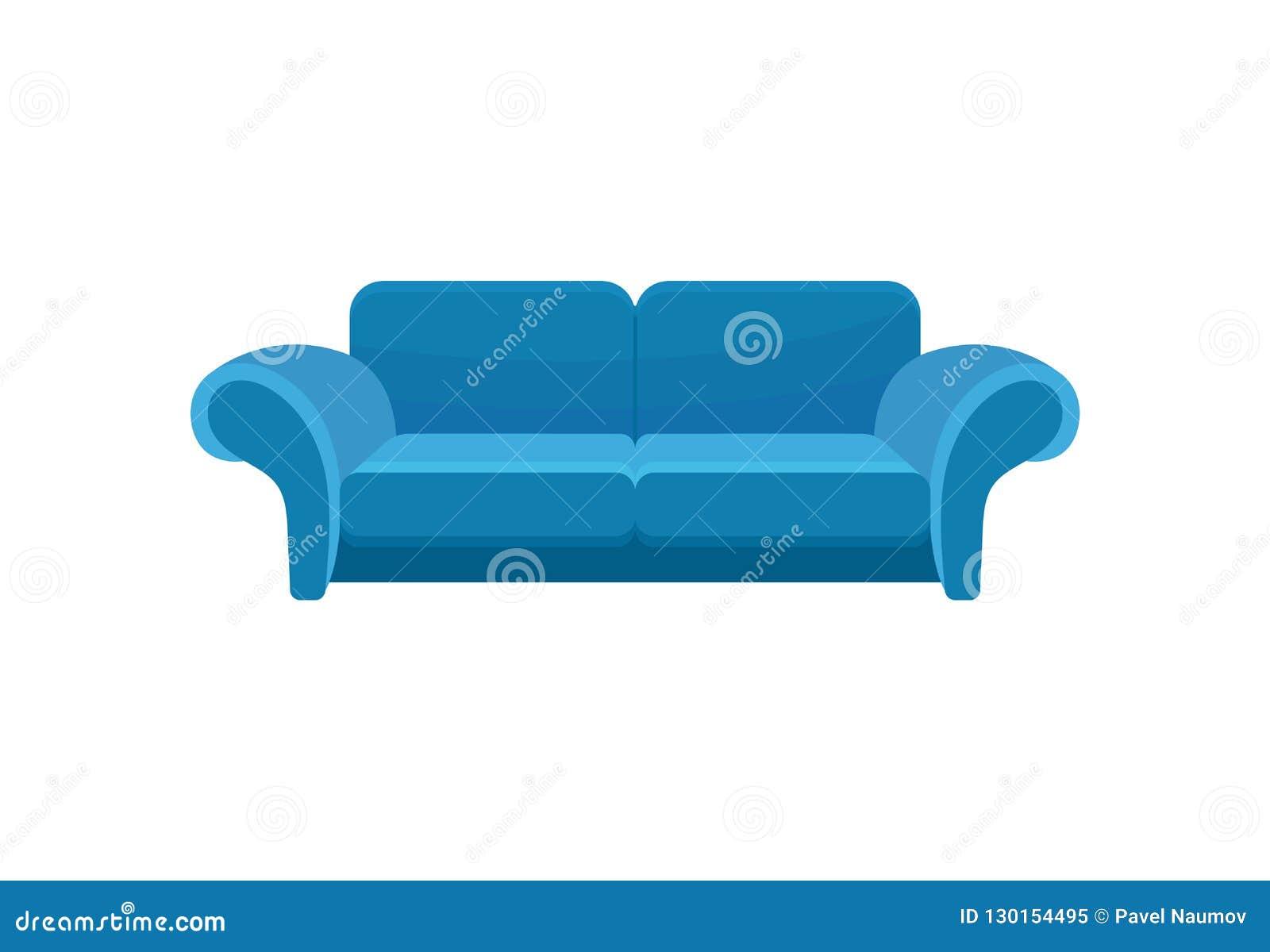 蓝色舒适的沙发,长沙发,客厅家具在白色背景的传染媒介例证