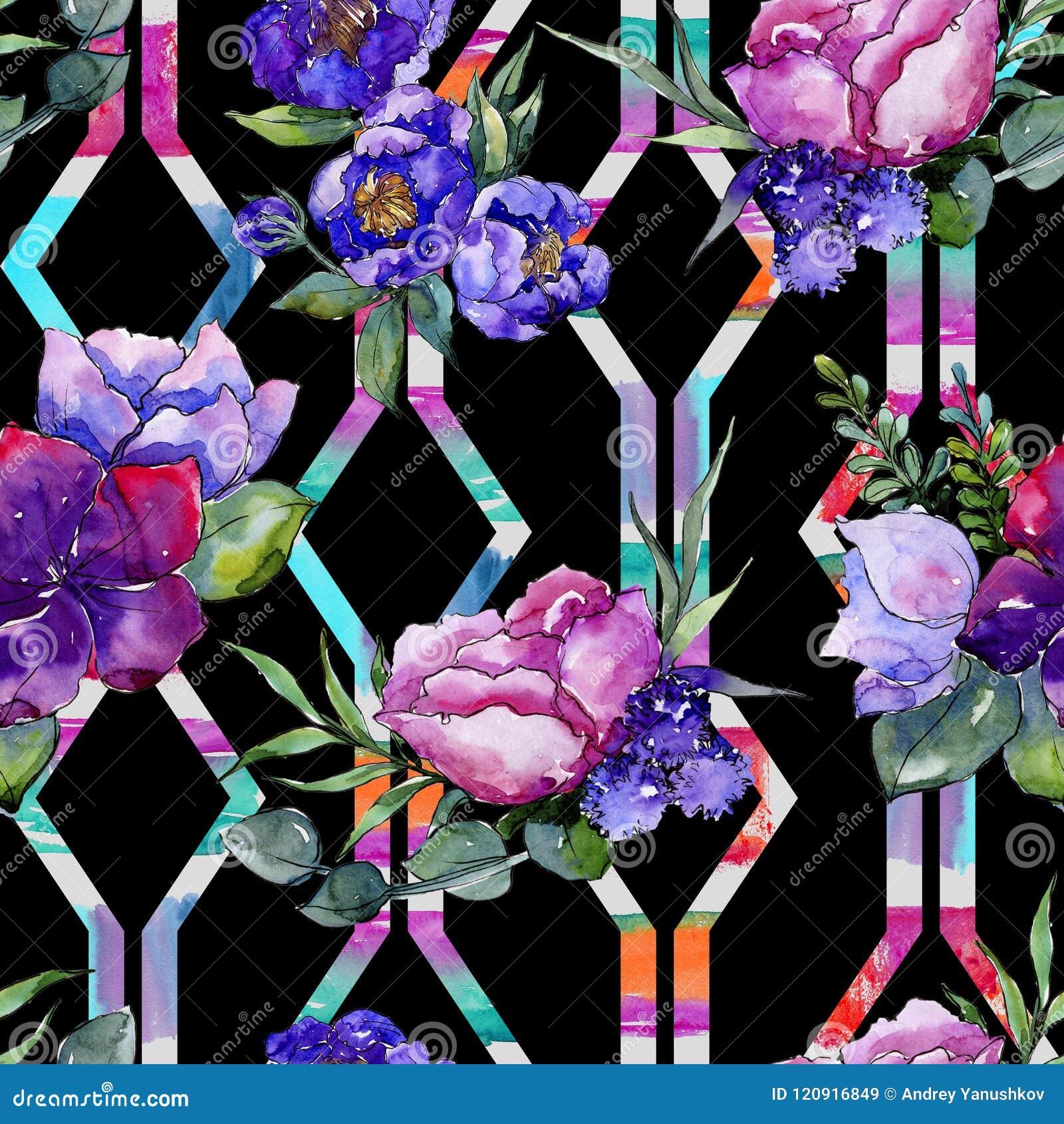 蓝色花束花 花卉植物的花 无缝的背景模式