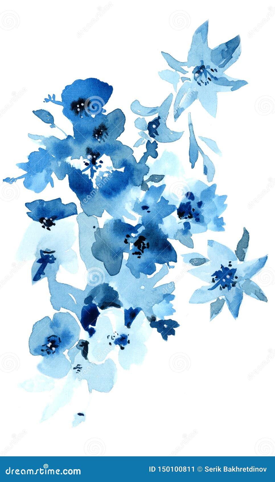 蓝色花水彩例证 在白色背景的被隔绝的对象desig的