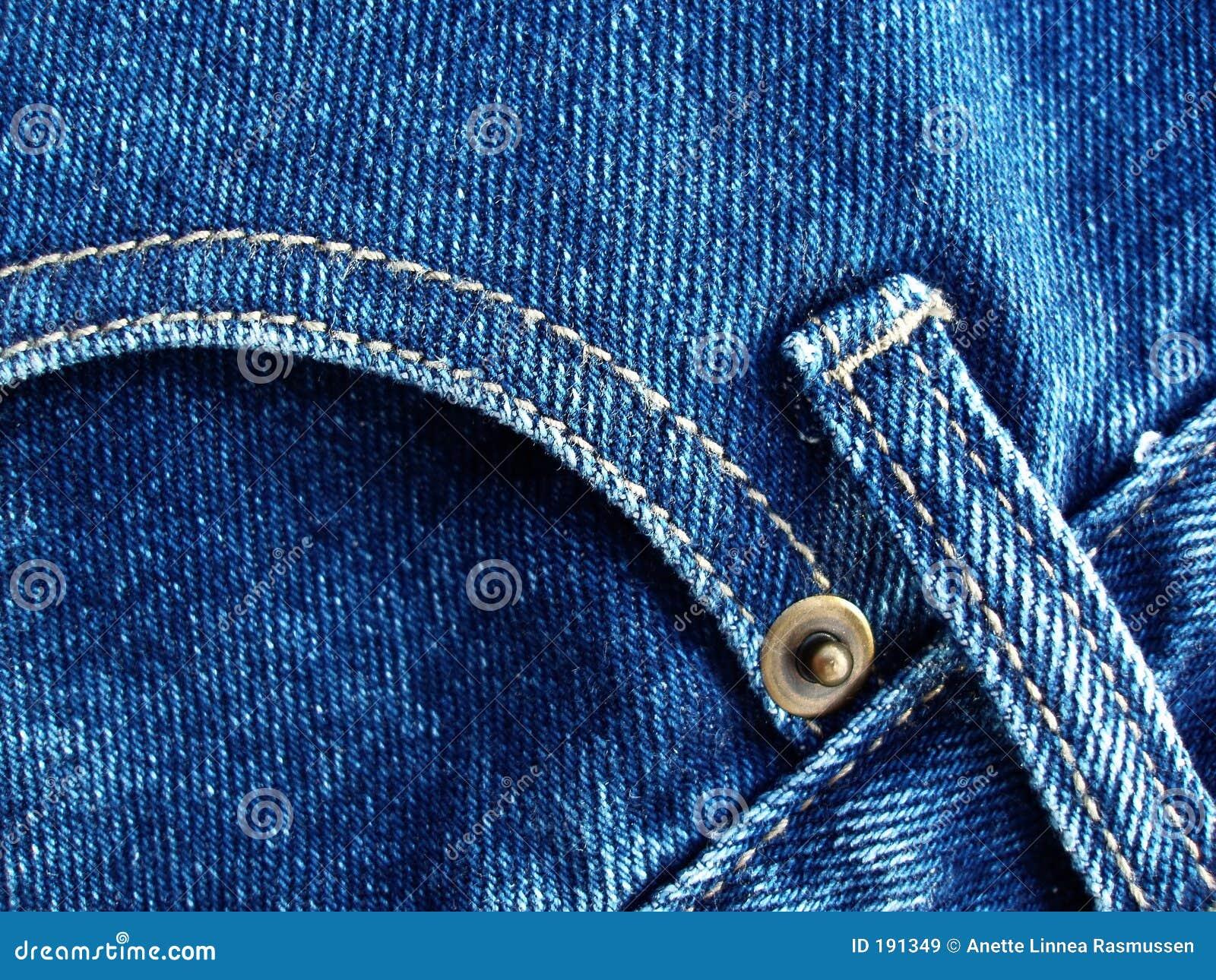 蓝色详述牛仔裤