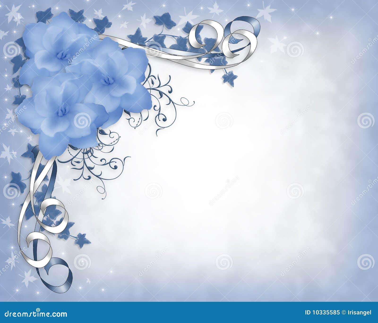 蓝色边界花卉栀子邀请婚礼