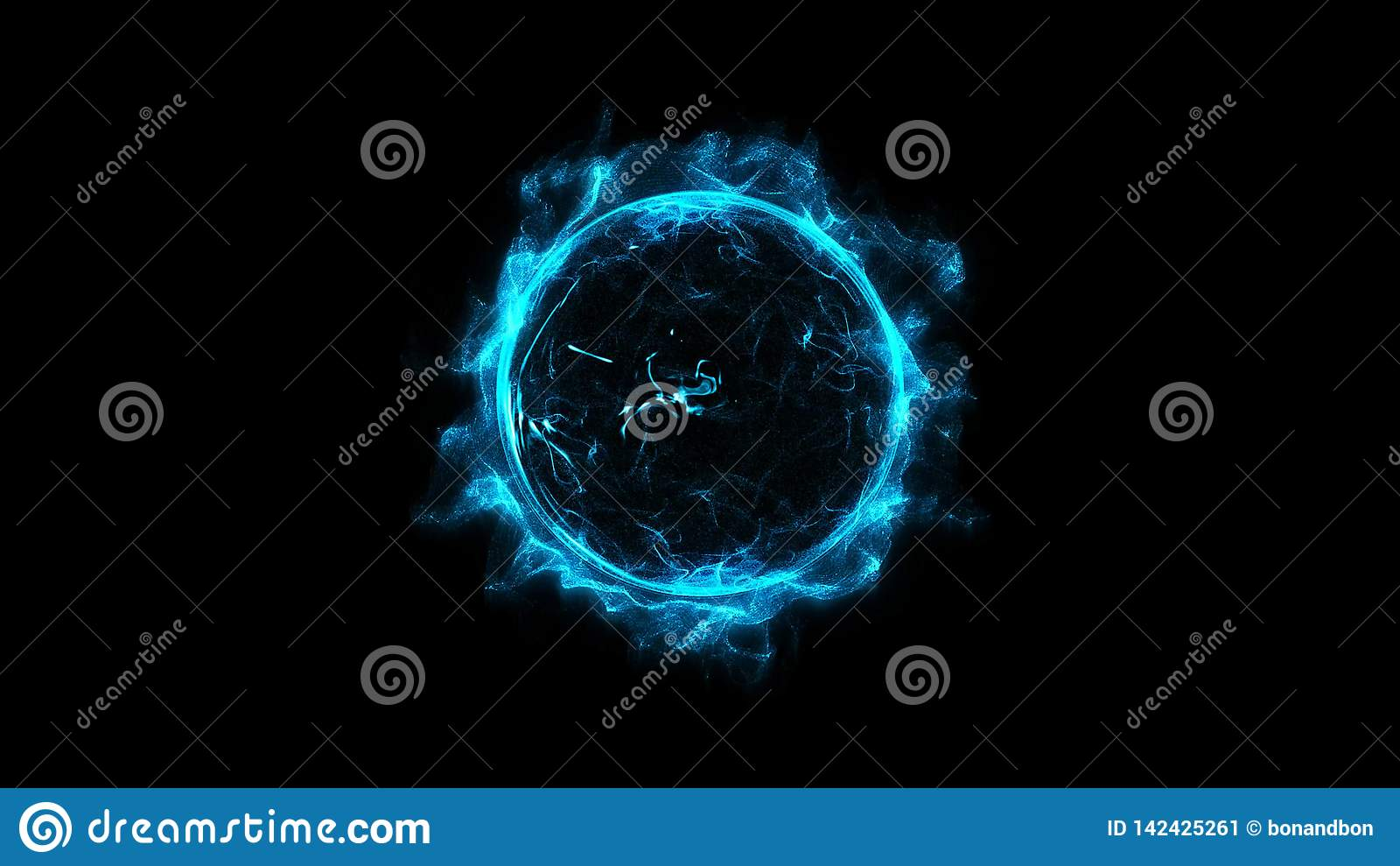 蓝色通报走路的发光的轻的圆环闪闪发光强有力的作用尘末爆炸