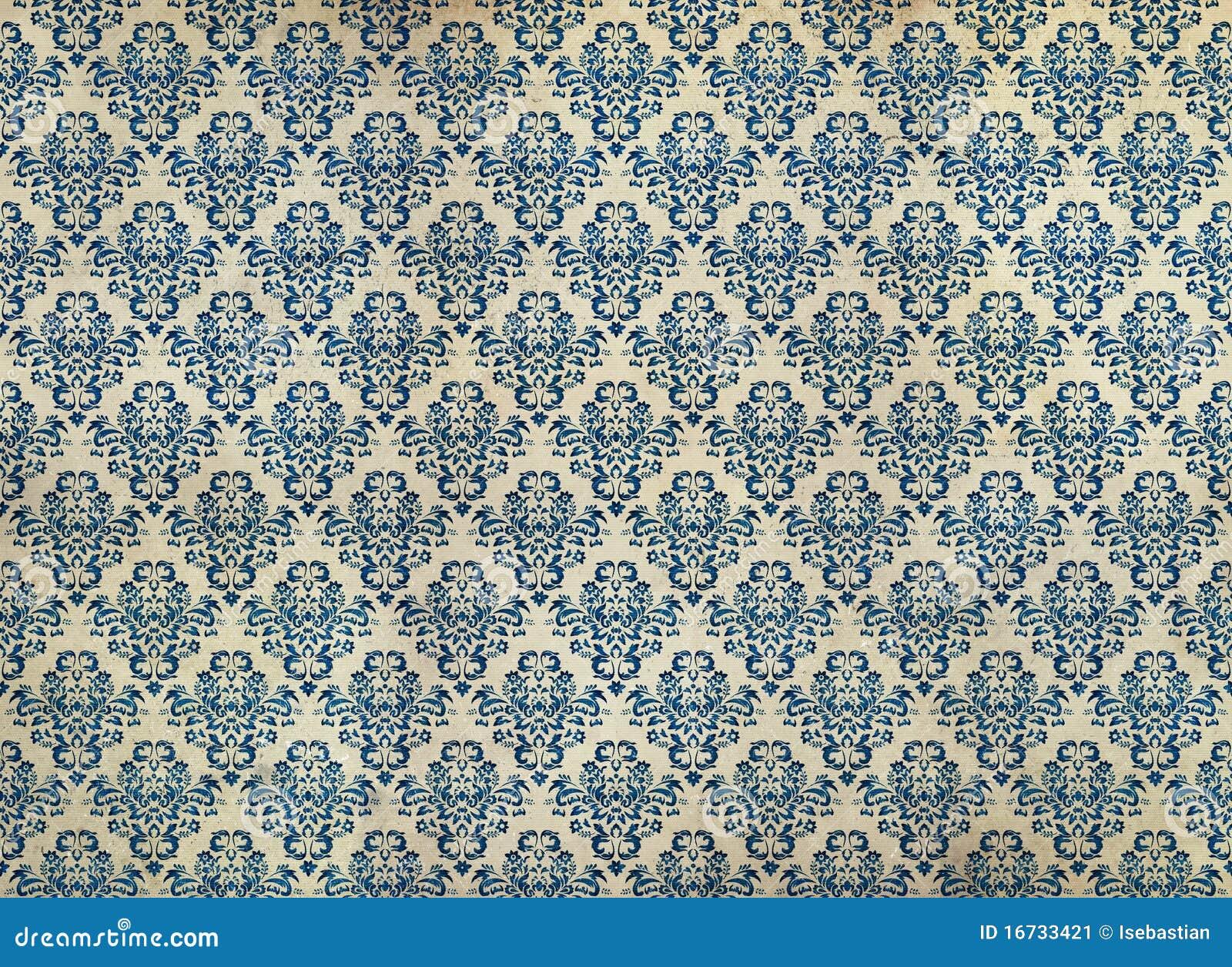 蓝色锦缎困厄的老墙纸