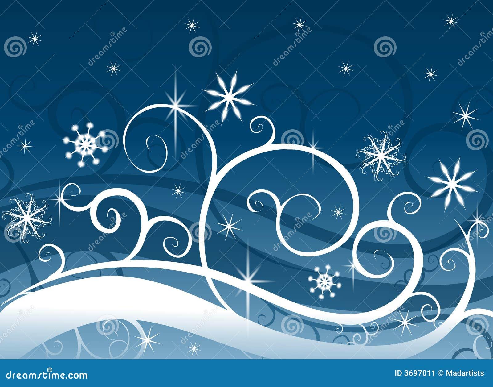 蓝色雪花冬天妙境