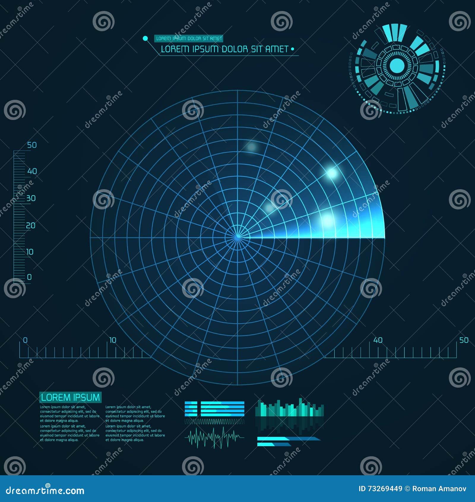 蓝色雷达网 您设计新例证自然向量的水 背景二进制代码地球电话行星技术 未来派用户界面 HUD