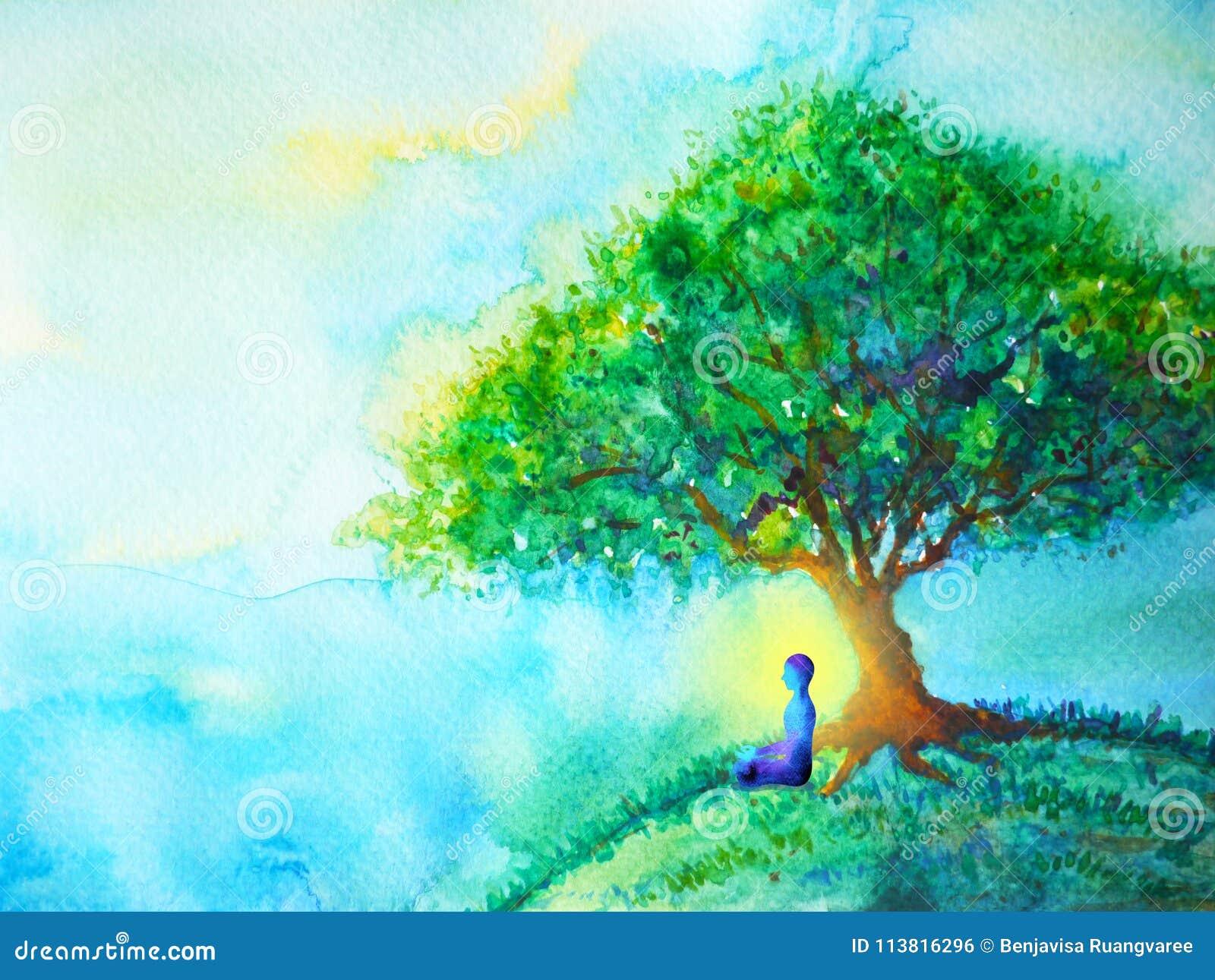 蓝色颜色chakra人的莲花姿势瑜伽,抽象世界,在您的头脑里面的宇宙