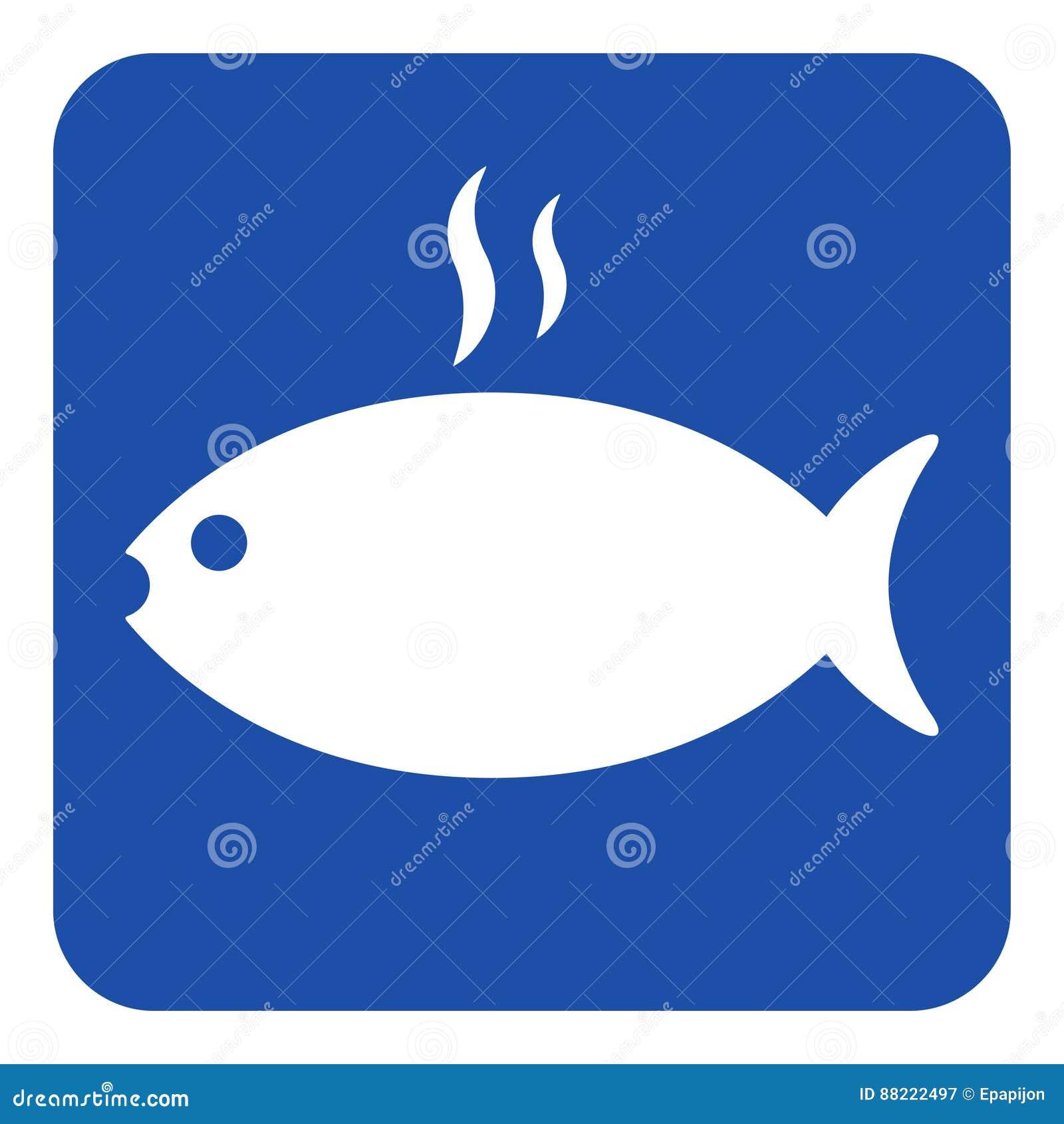 蓝色,白色标志-烤与烟象的鱼