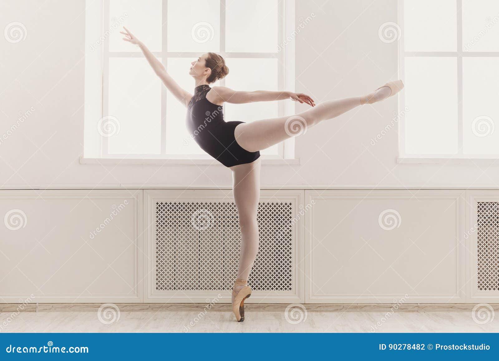蔓藤花纹芭蕾位置的美丽的芭蕾舞女演员