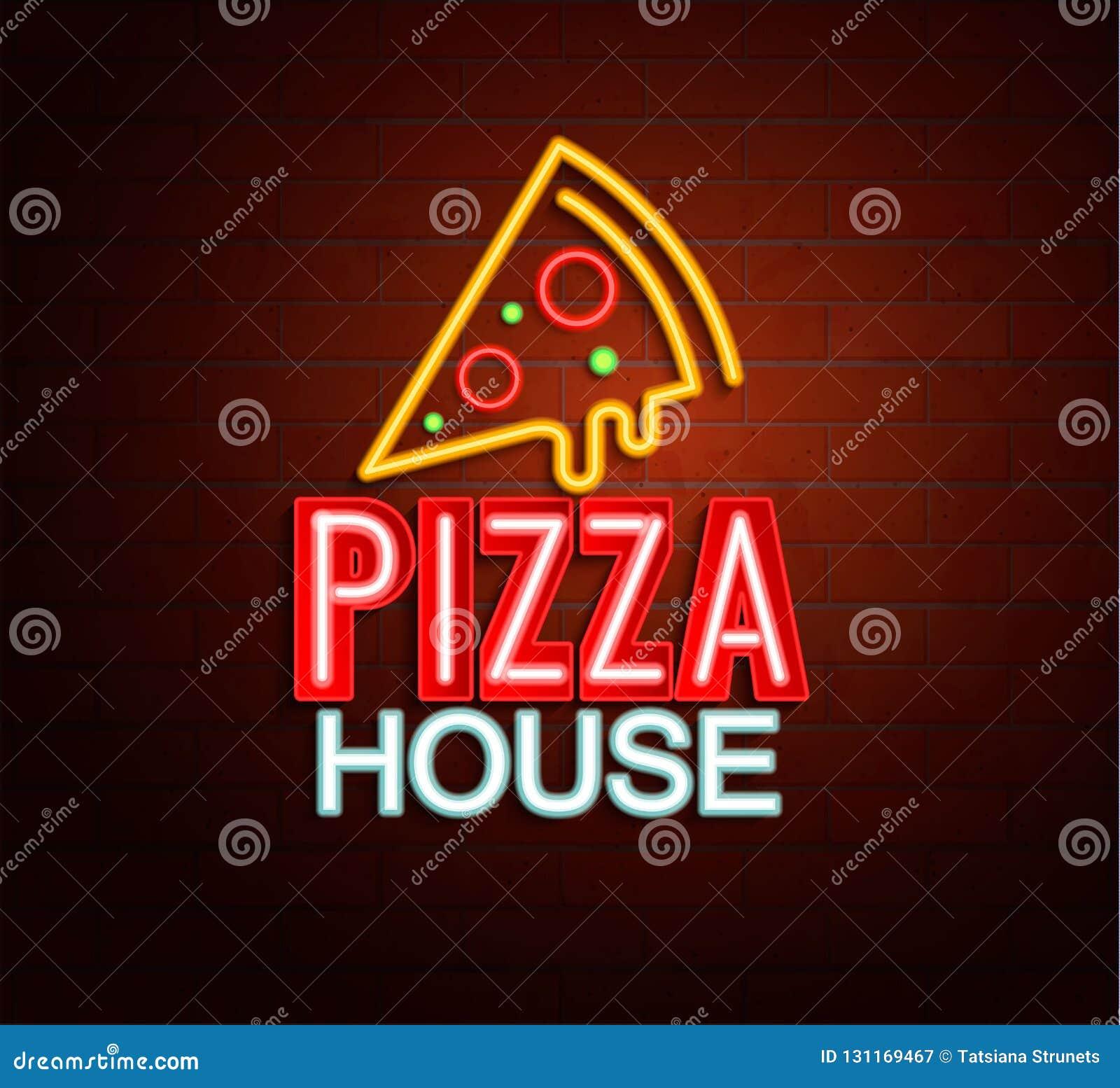 薄饼房子的霓虹灯广告