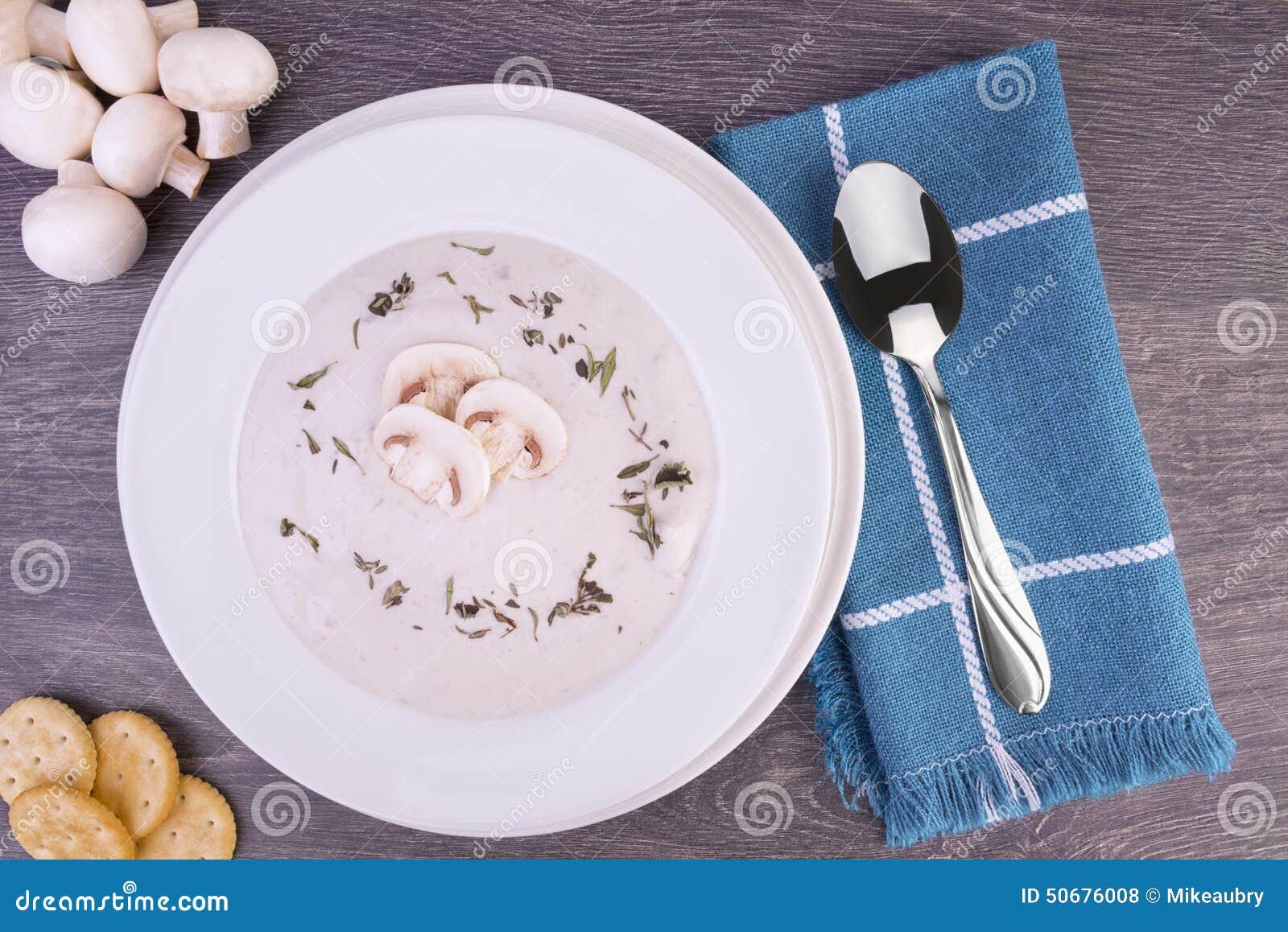 Download 蘑菇汤新鲜的奶油在一个白色碗的 库存照片. 图片 包括有 正餐, 素食主义者, 草本, 空白, 降低, 部分 - 50676008