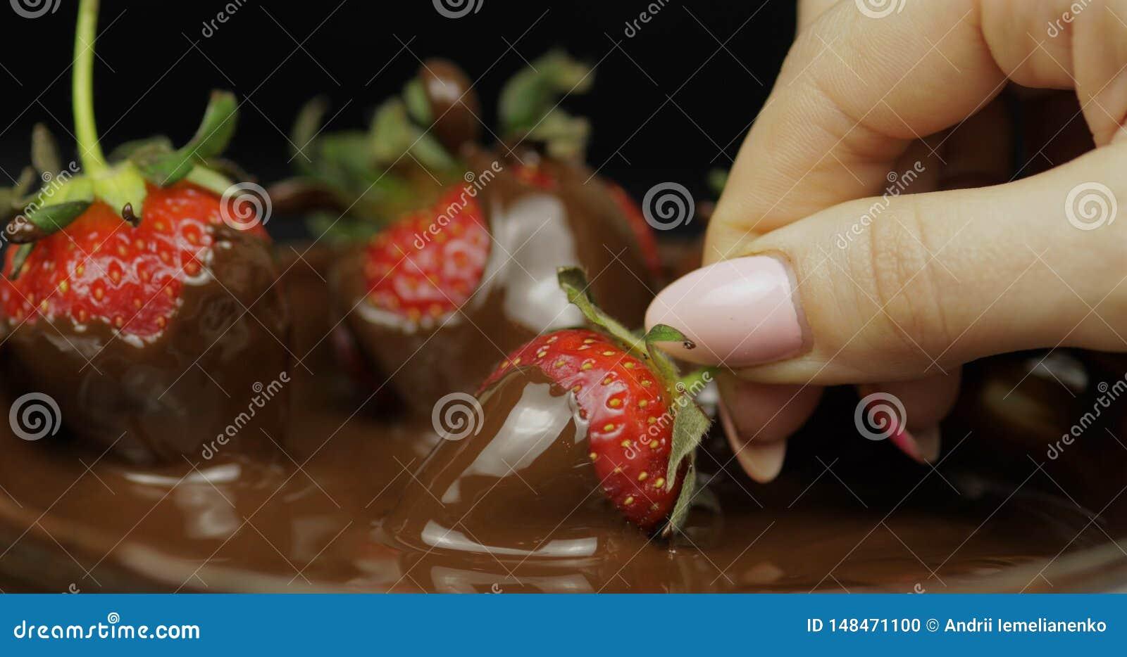 蘸在熔化巧克力的手草莓 新鲜的莓果甜点心食物