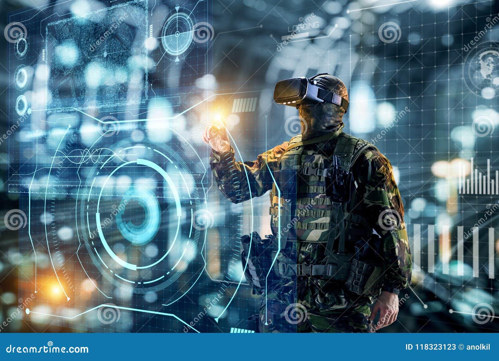 虚拟现实玻璃的战士 futu的军事概念