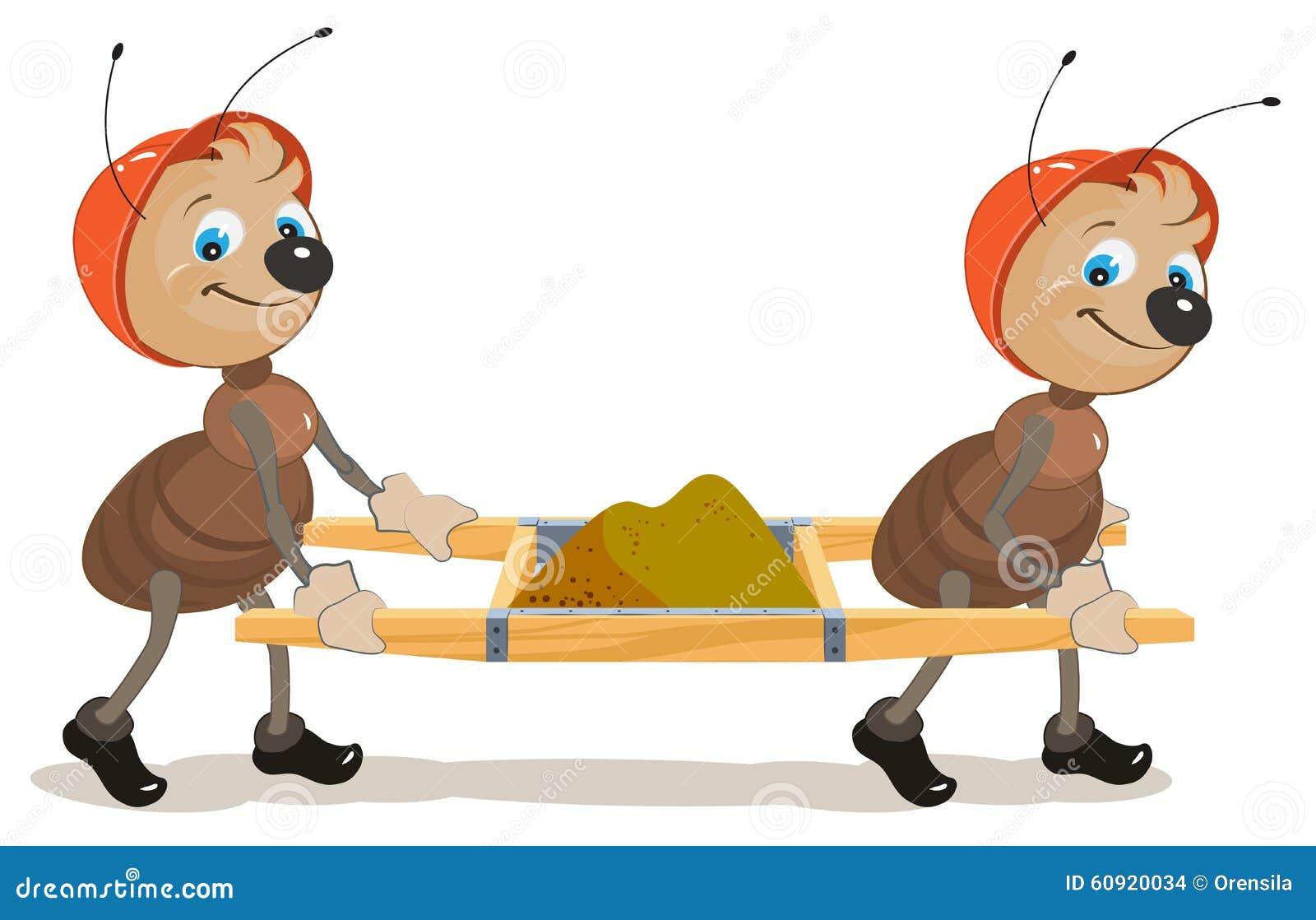 蚂蚁建造者 两只蚂蚁是与沙子的担架 例证以传染媒介格式.图片