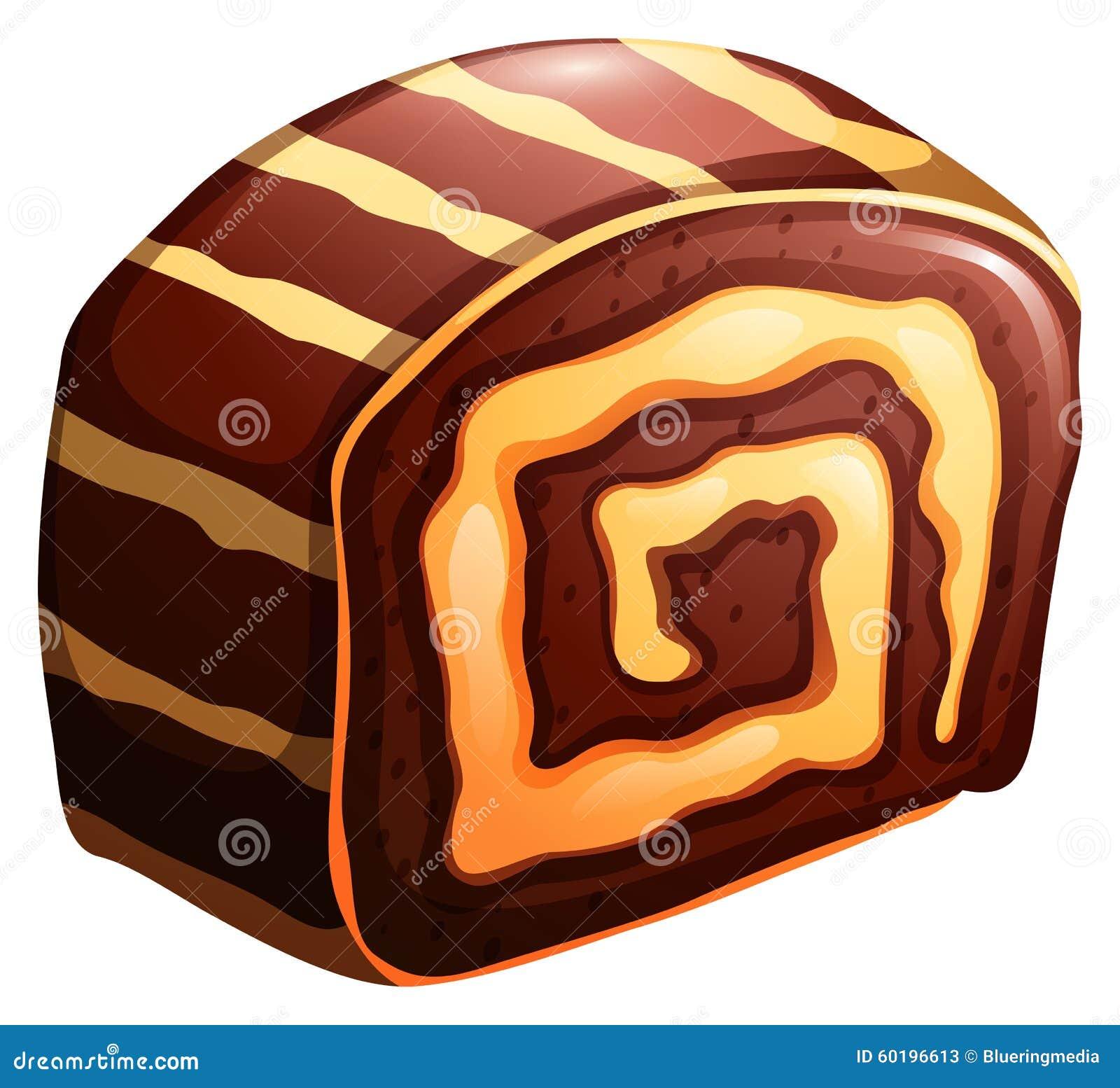 蛋糕卷巧克力和香草味道