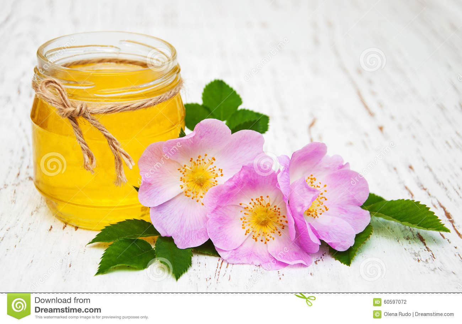 蜂蜜和狗玫瑰色花