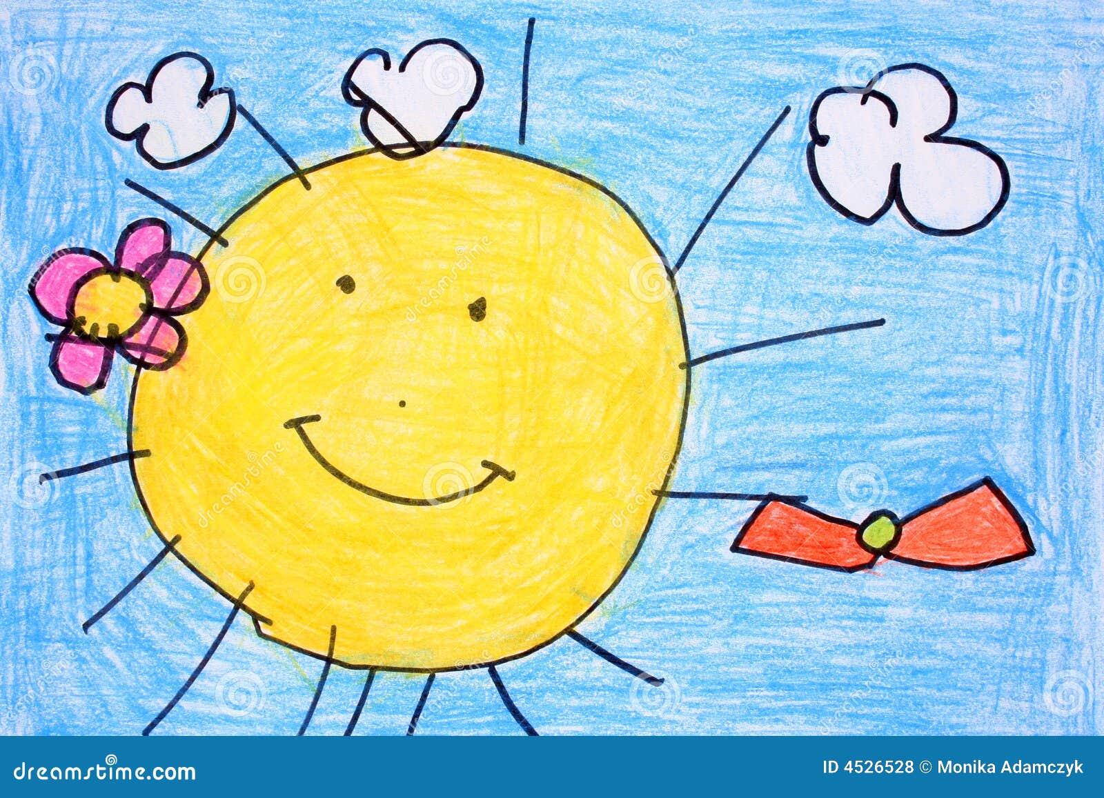 蜡笔晴朗日的图画