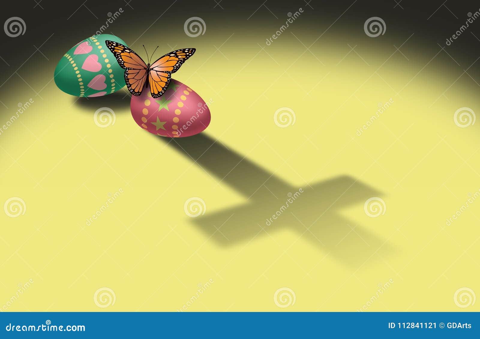蝴蝶和复活节彩蛋与基督徒发怒阴影