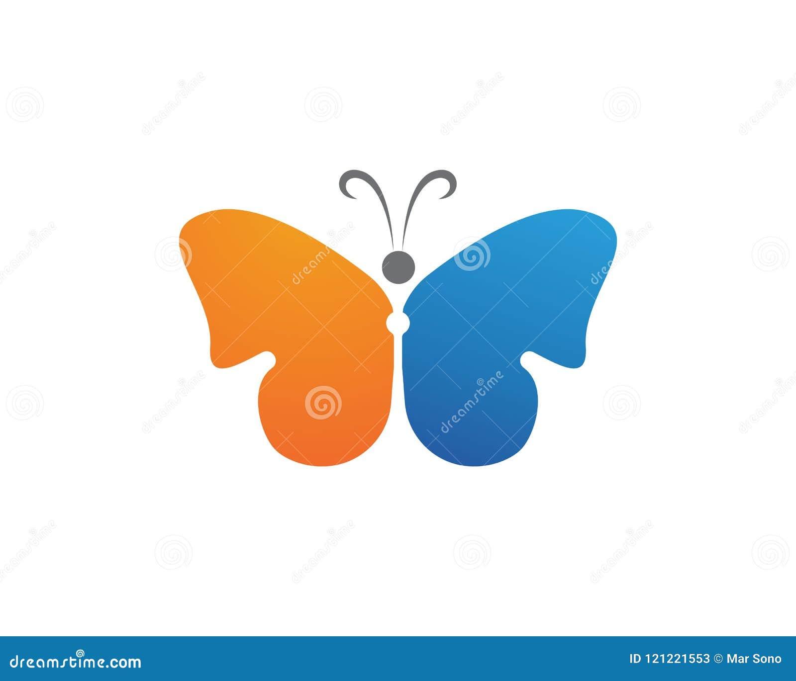 蝴蝶简单秀丽的商标,五颜六色的象 徽标 传染媒介Illust