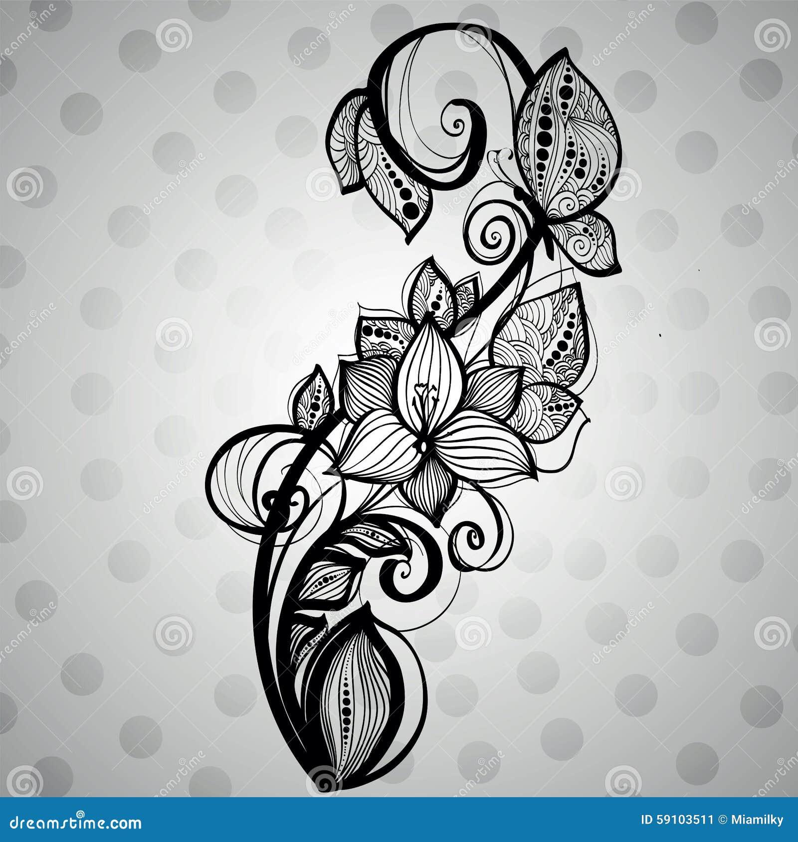 蝴蝶坐与漩涡的一朵花