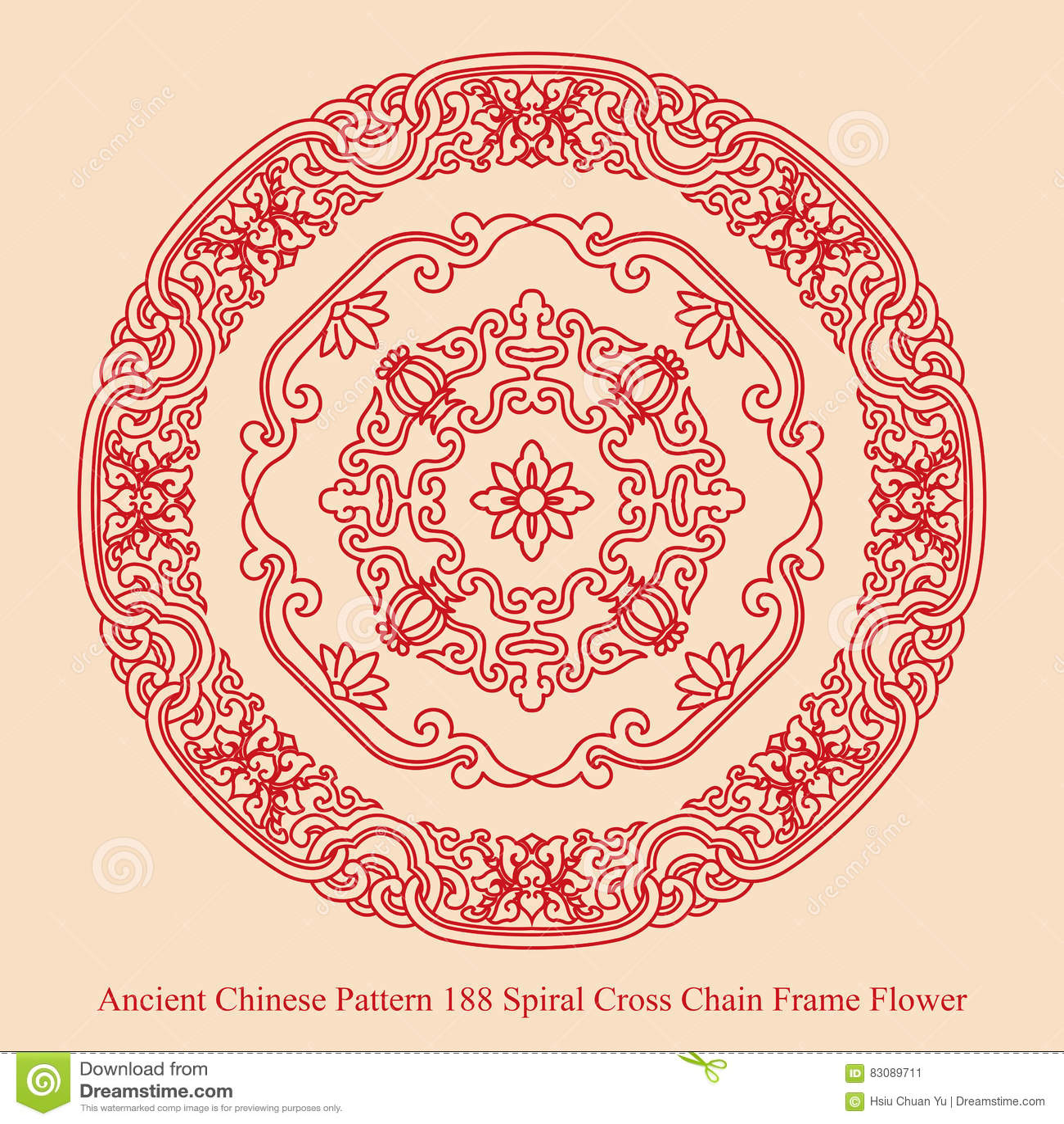 螺旋发怒链框架花的古老中国样式