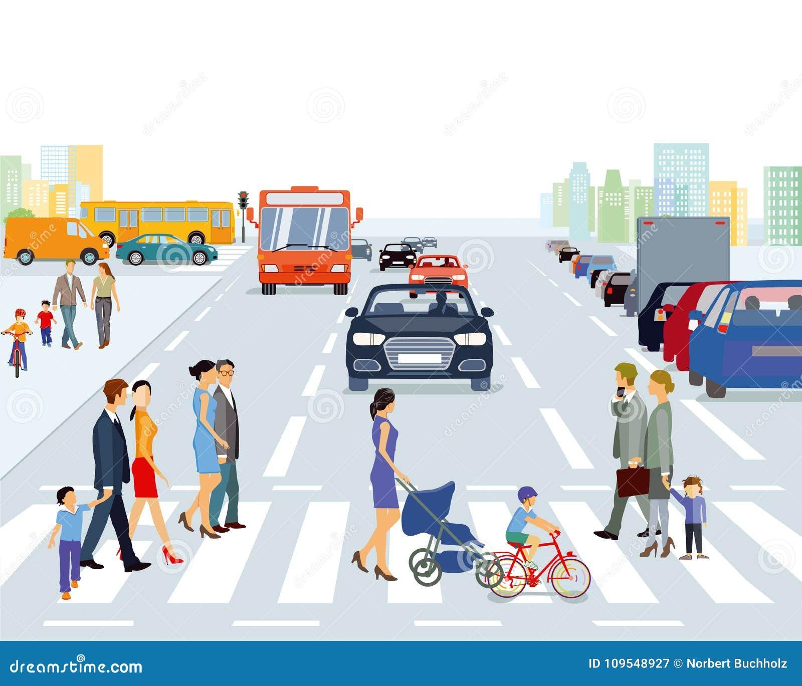 行人交叉路在大城市