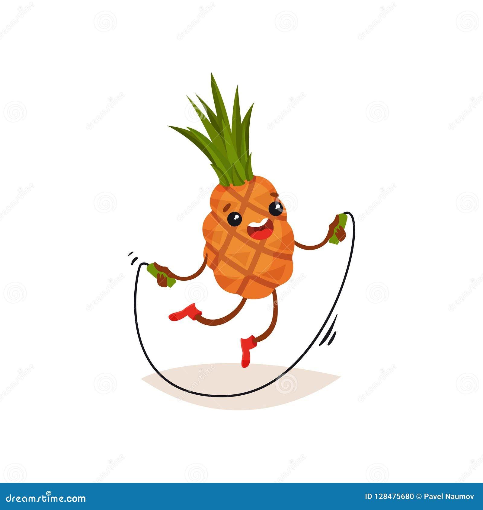 行使与跳绳的动画片菠萝 与愉快的面孔表示的滑稽的被赋予人性的果子 平的传染媒介设计