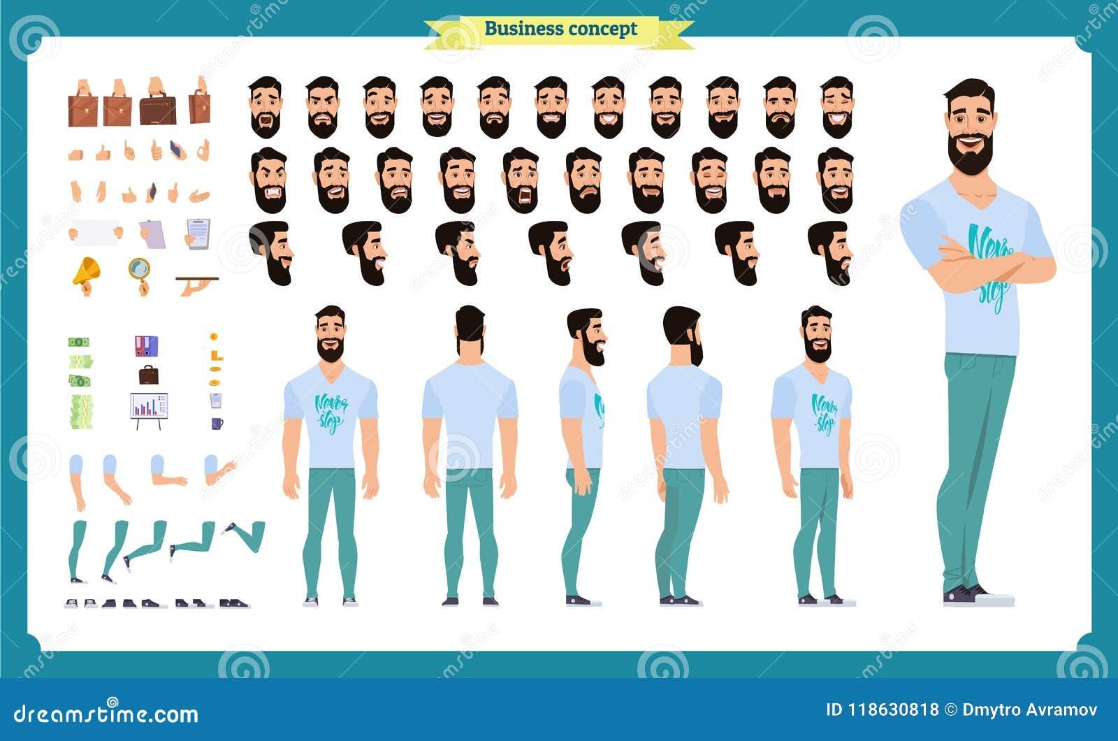 行家创作成套工具 套平的男性漫画人物身体局部,发型,时髦衣物,