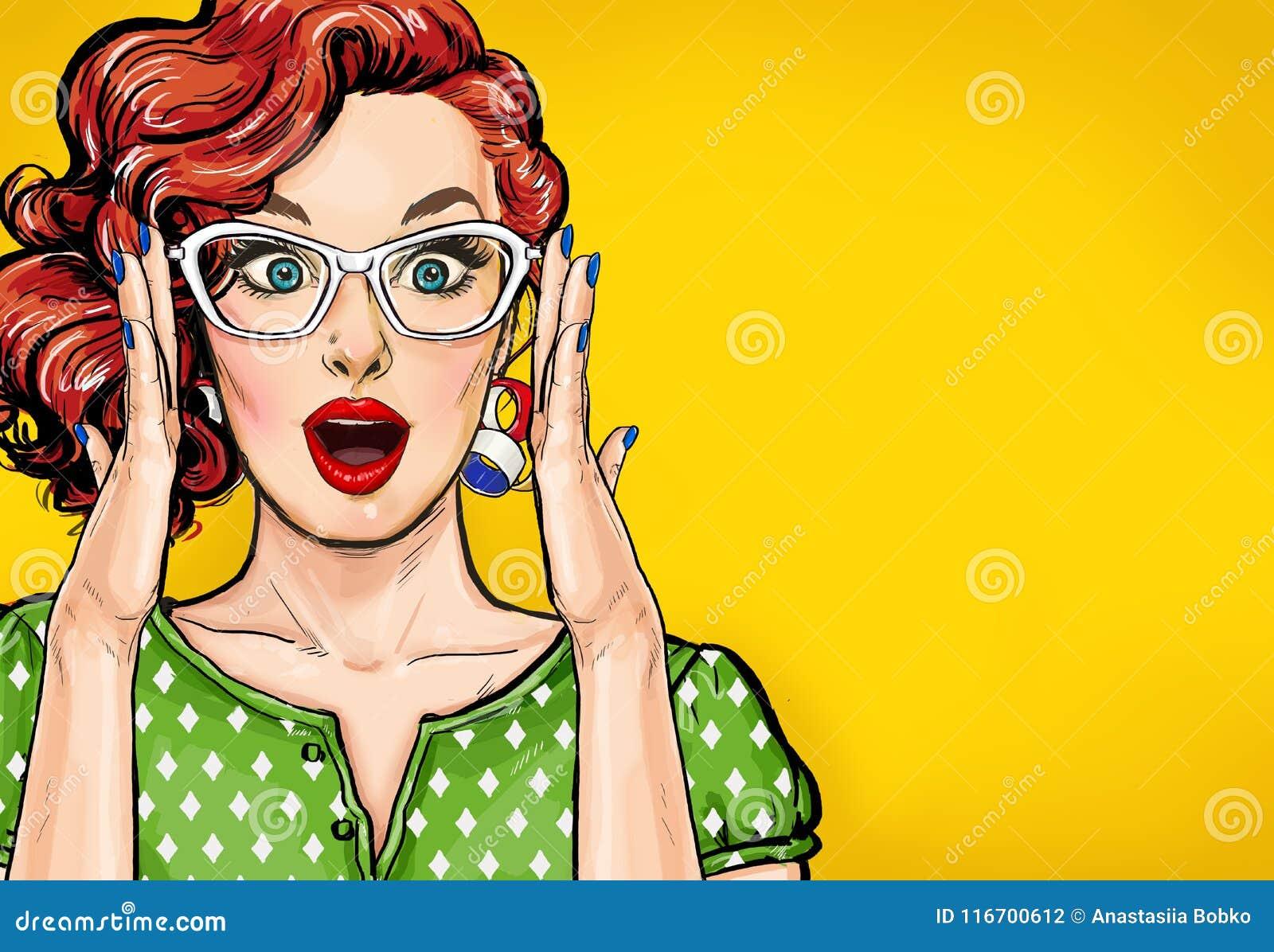 行家玻璃的惊奇的流行艺术妇女 广告海报或党邀请与性感的俱乐部女孩有开放嘴的