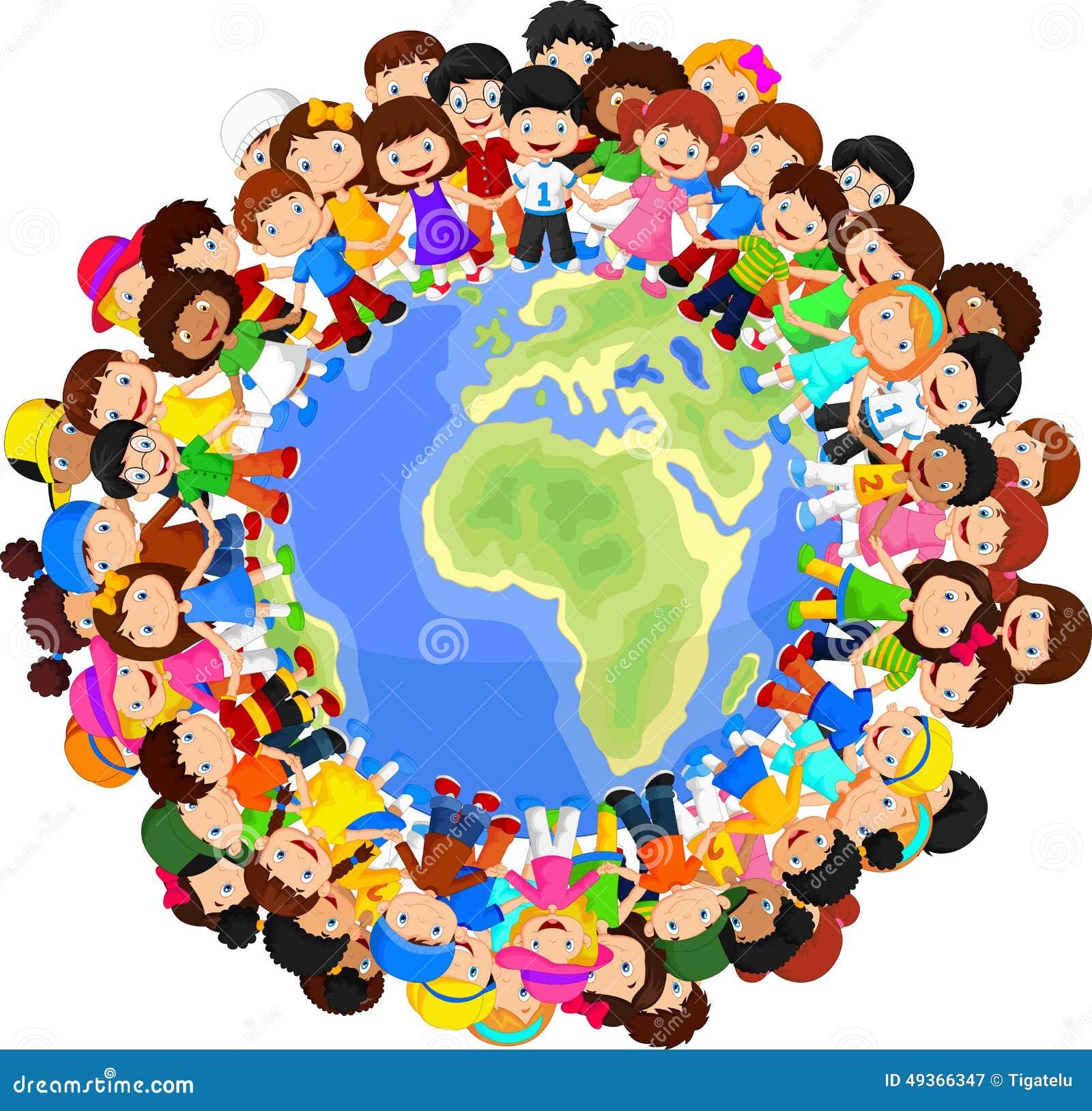 行星地球上的多文化儿童动画片