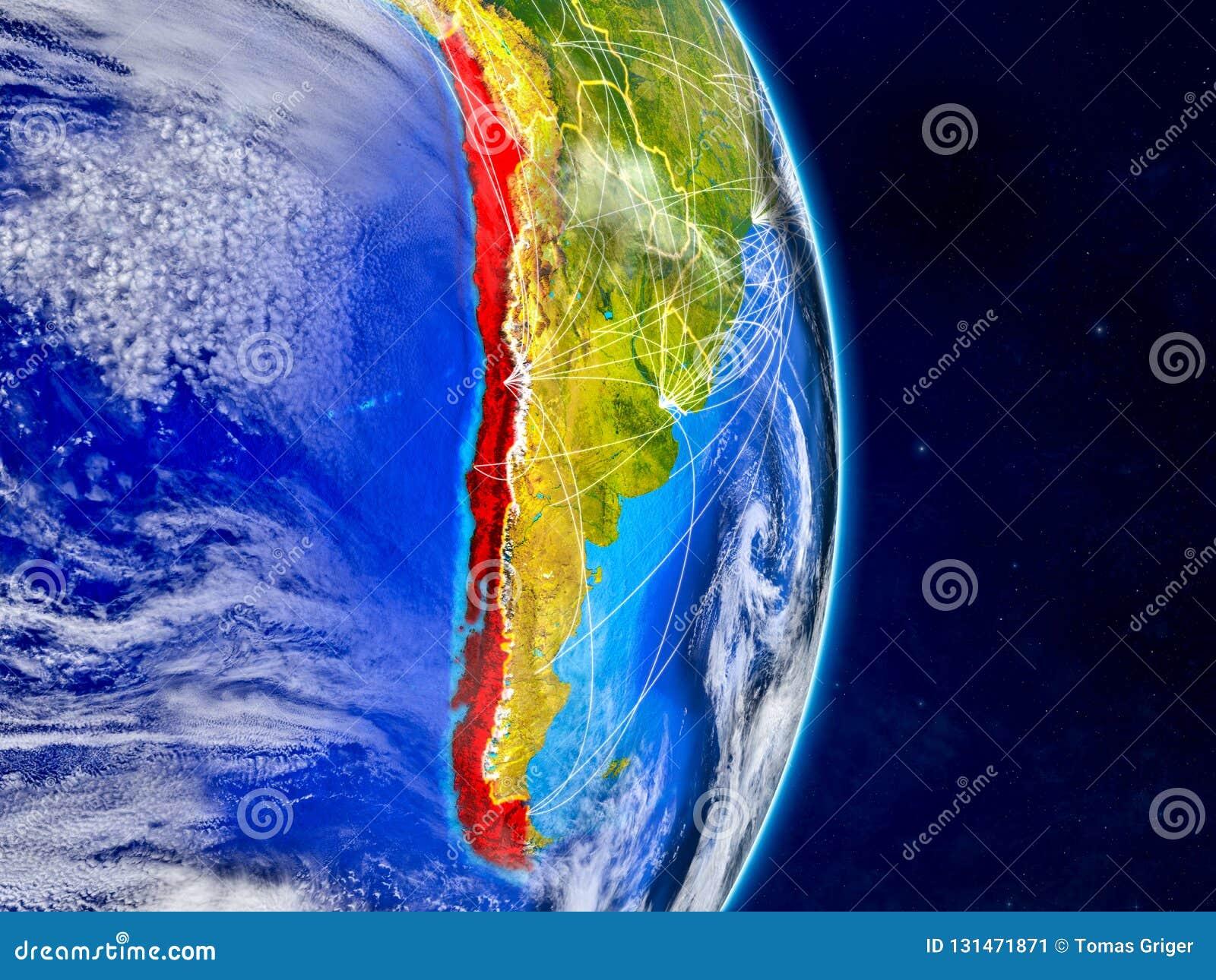 行星地球上的智利与网络 极端详细的行星表面和云彩 3d例证 这个图象的元素
