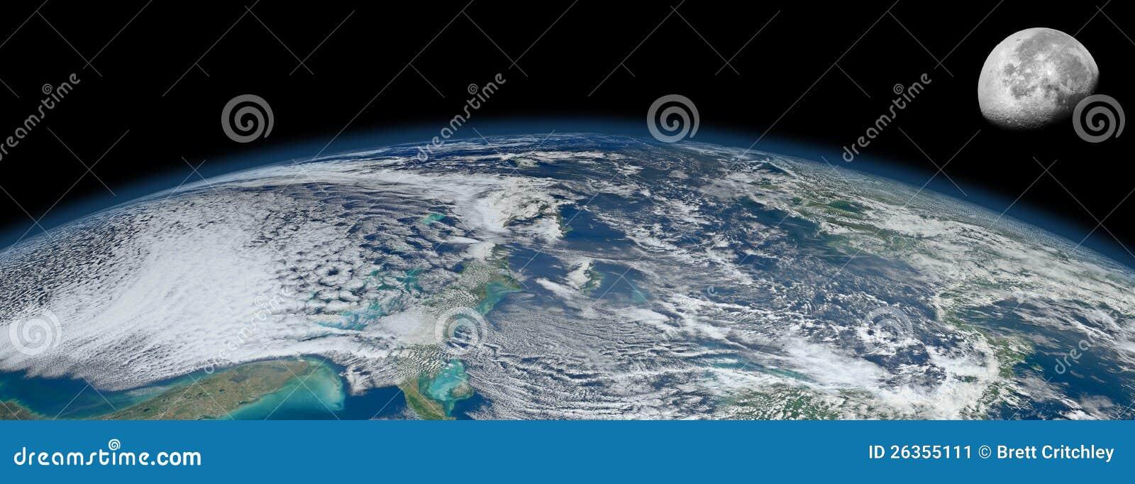 行星地球月亮循轨道运行