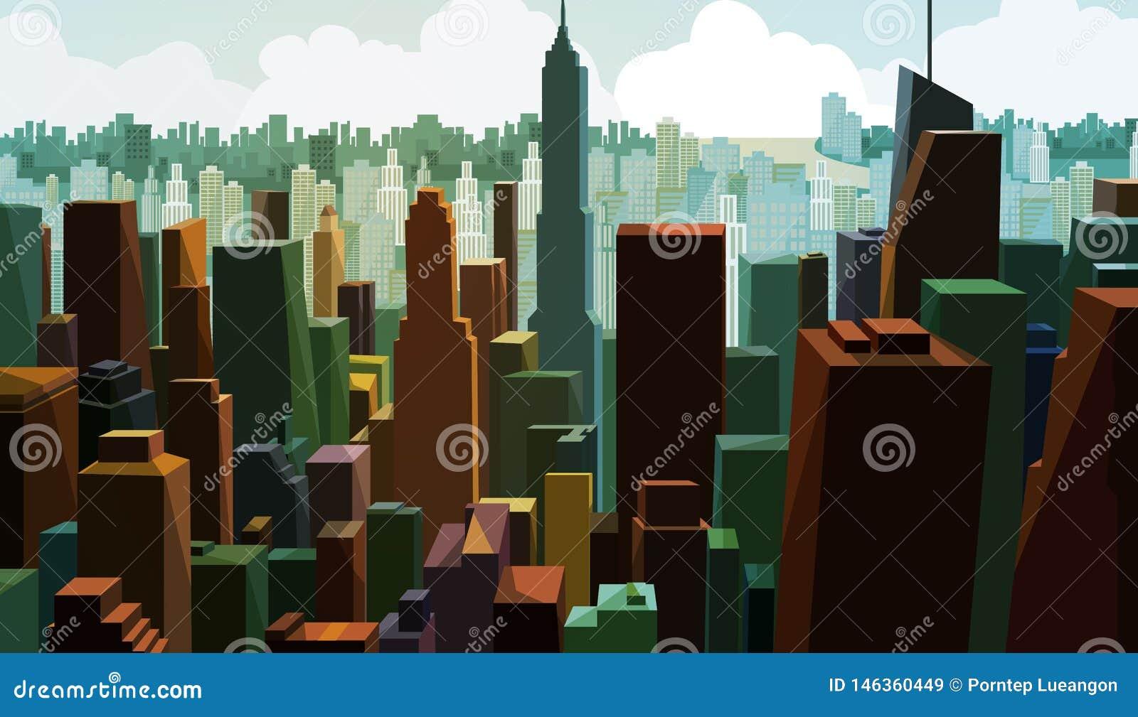 街市资本的鸟瞰图 与城镇设计的都市风景视图 商业区全景有高大厦的