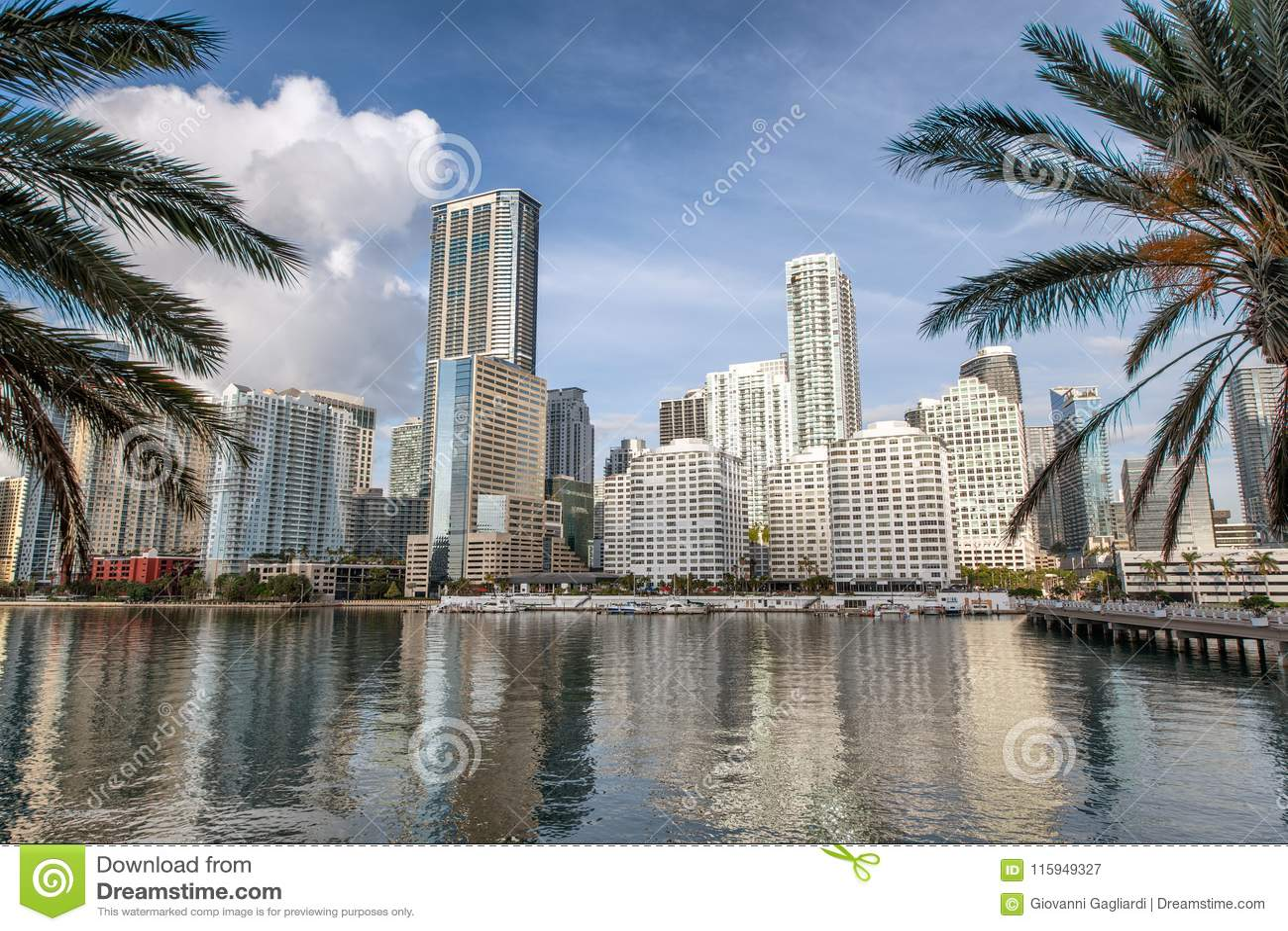 街市迈阿密地平线和大厦反射从Brickell K