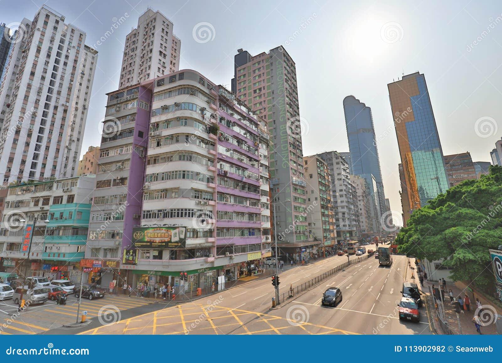 街道场面在旺角香港