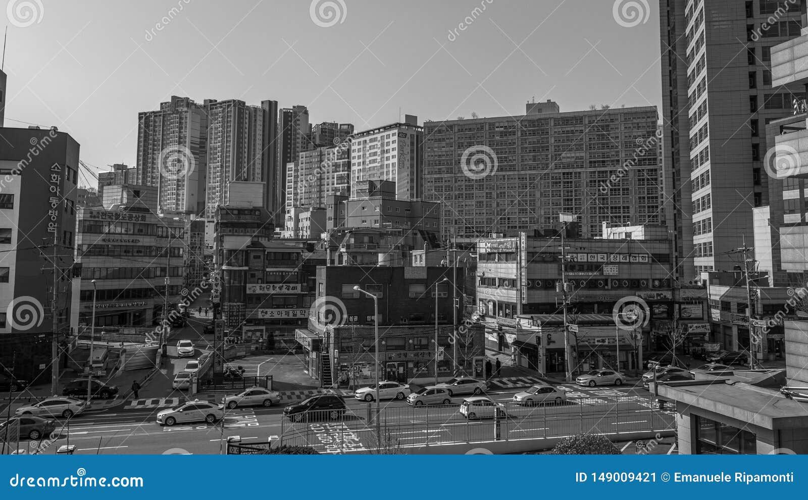 街道大厦和交通在黑白的汉城