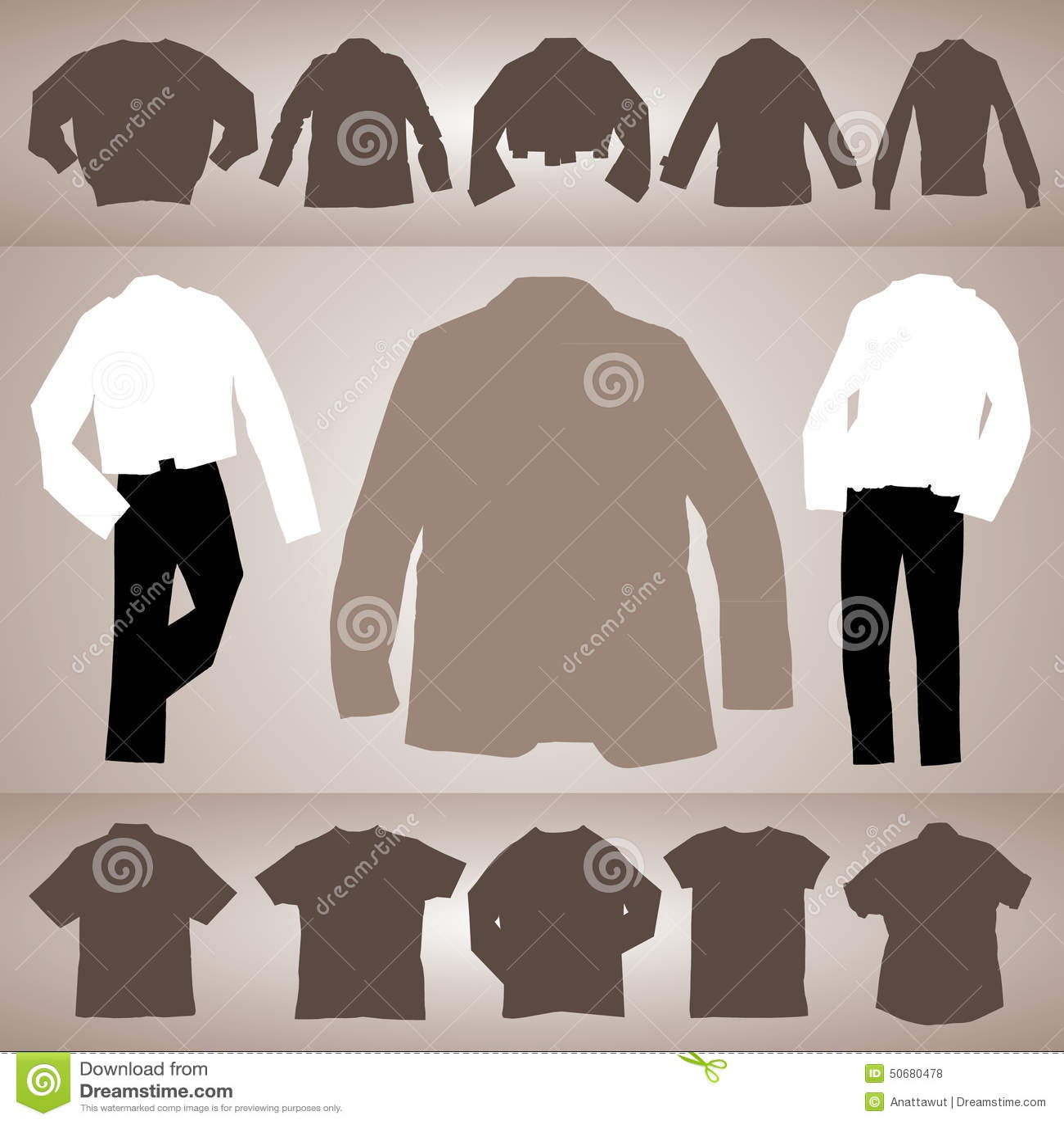 Download 衣物汇集传染媒介0052 向量例证. 插画 包括有 空白, 服装, 裤子, 剪影, browne, 布料 - 50680478