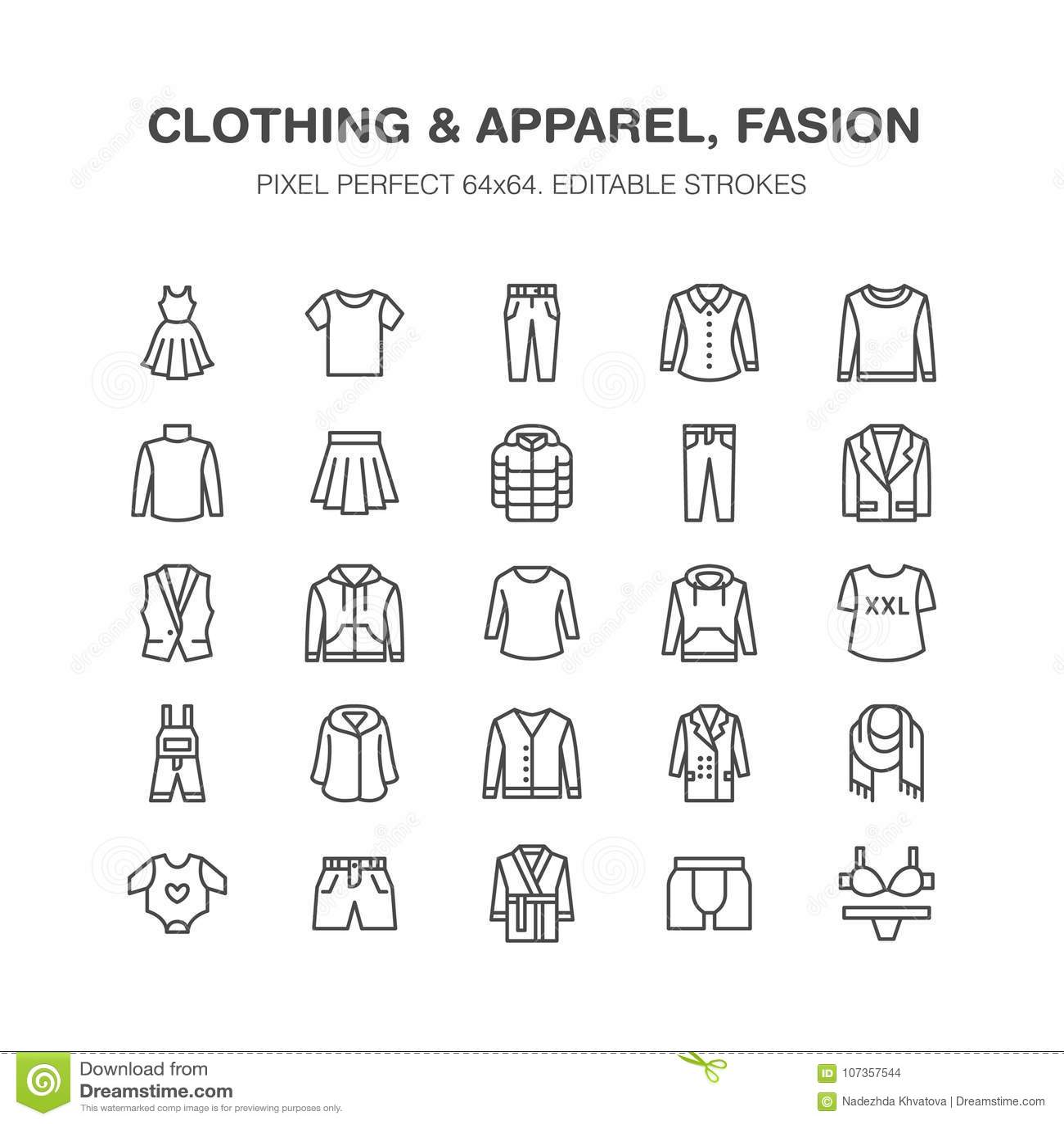 衣物, fasion平的线象 人,妇女服装-穿戴,下来夹克,牛仔裤,内衣,运动衫 稀薄线性