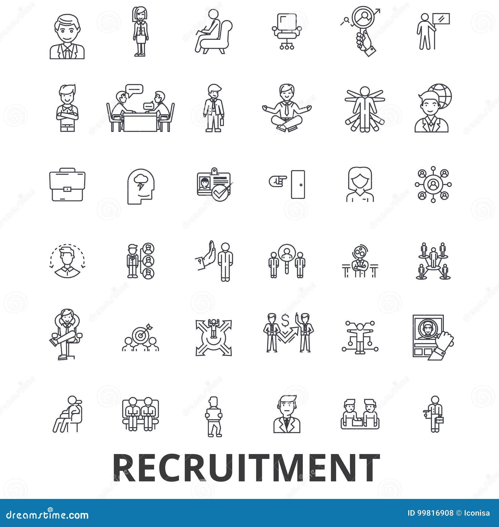 补充,聘用,人力资源,事业,采访,就业,职员排列象 编辑可能的冲程 平的设计