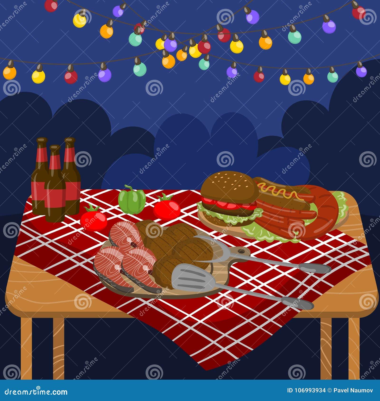 表用烤牛排,香肠,三文鱼,汉堡,夜与欢乐照明的烤肉党点燃传染媒介