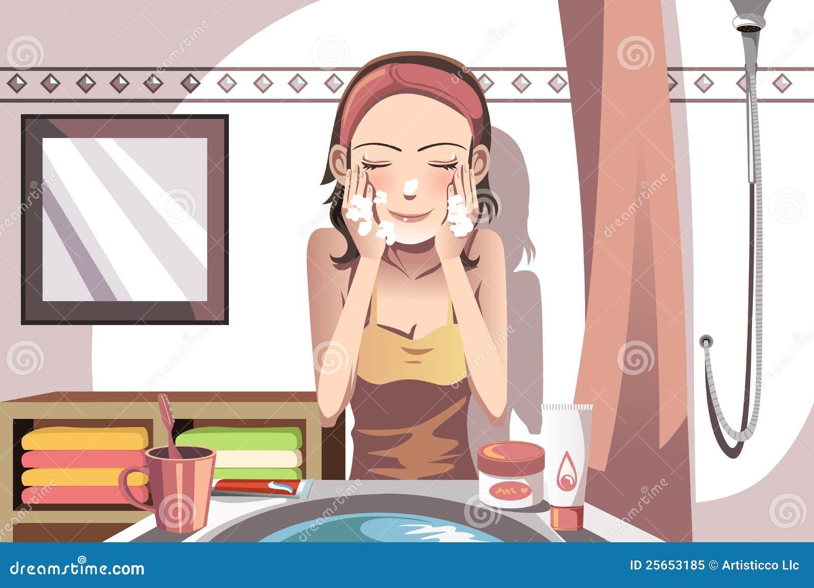表面洗涤的妇女