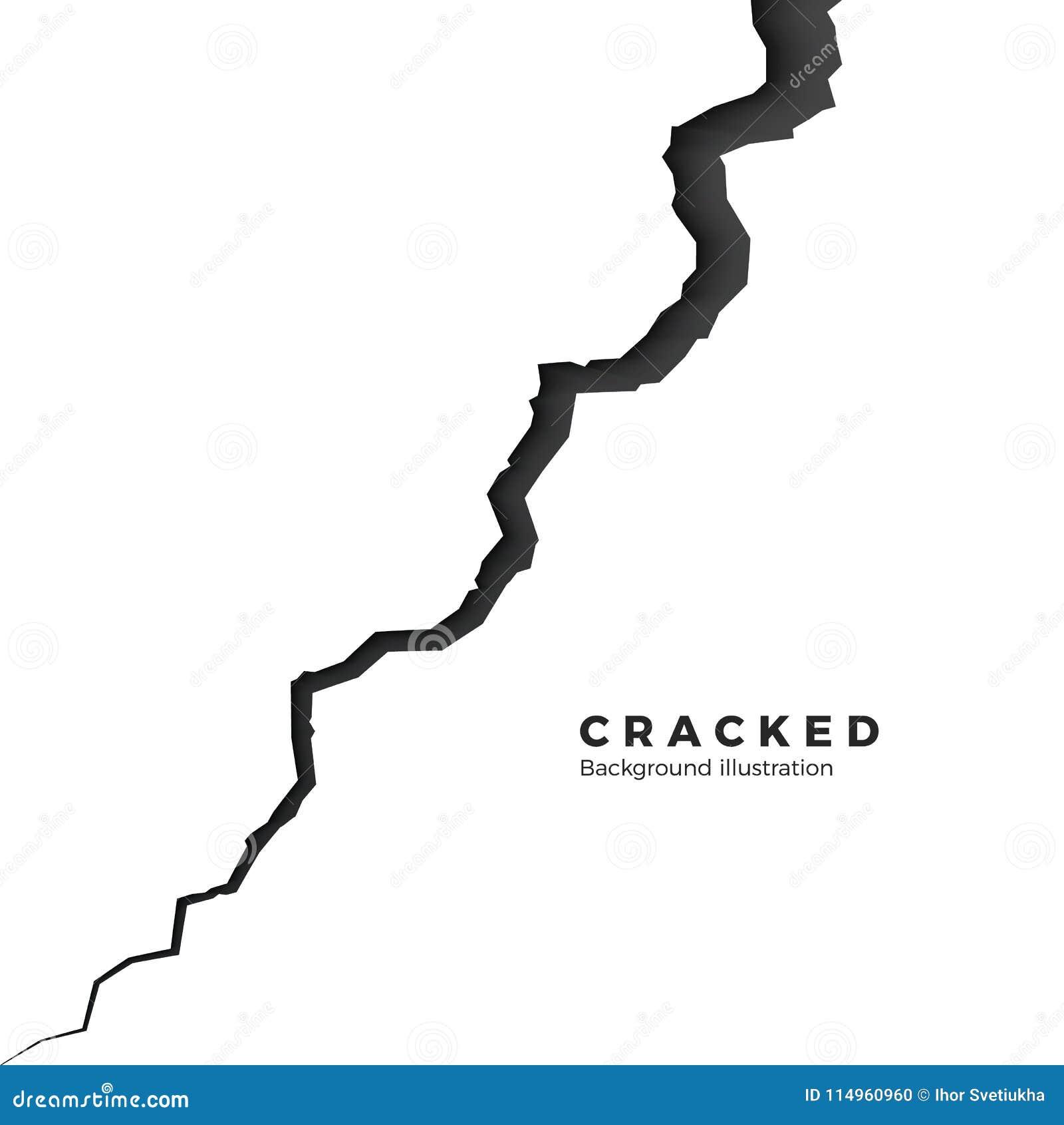 表面破裂的地面 剪影高明的纹理 在地震以后的分裂地形 在空白背景查出的向量例证