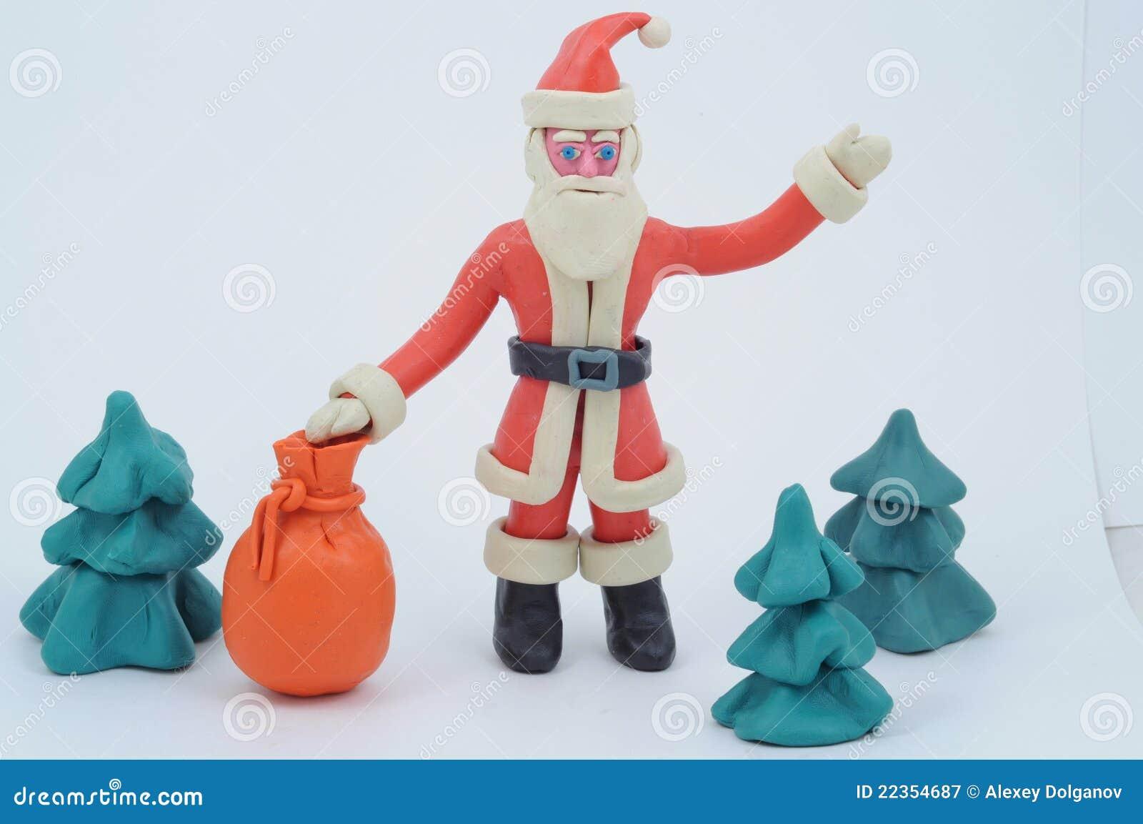 袋子克劳斯礼品彩色塑泥圣诞老人
