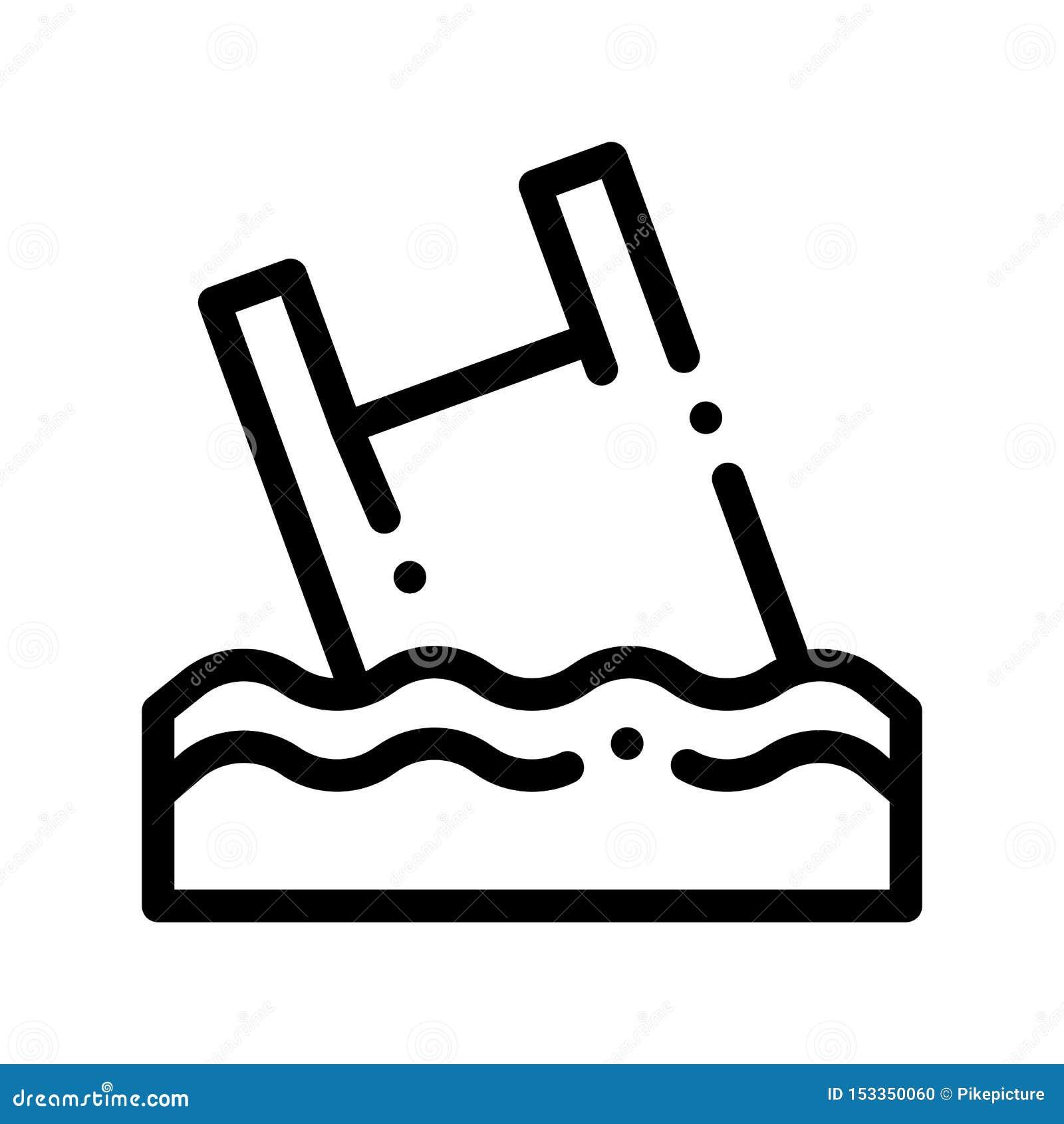 袋子在海洋传染媒介稀薄的线象的破烂物漂在海上的难船