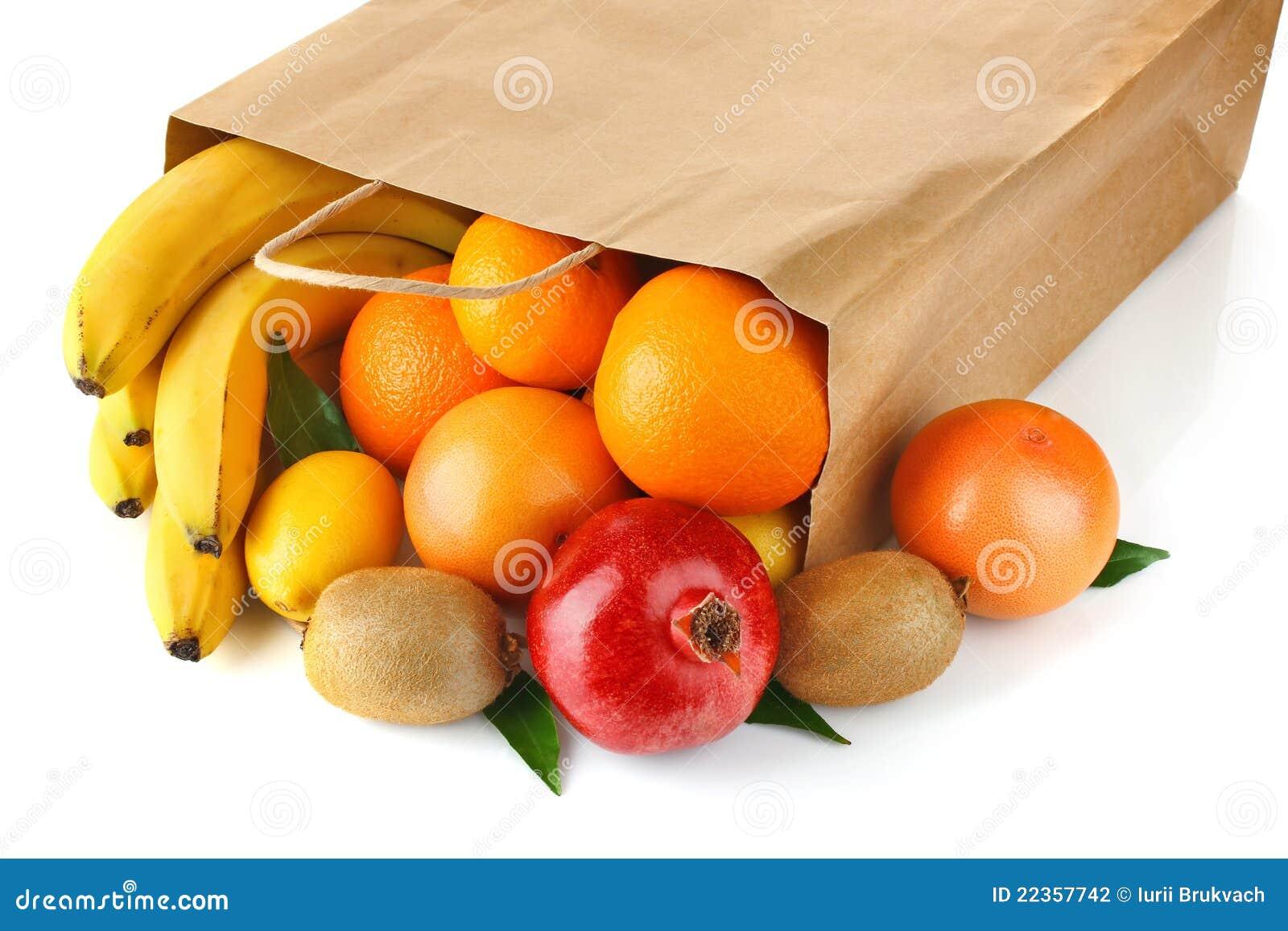 袋子成熟新鲜水果的纸张