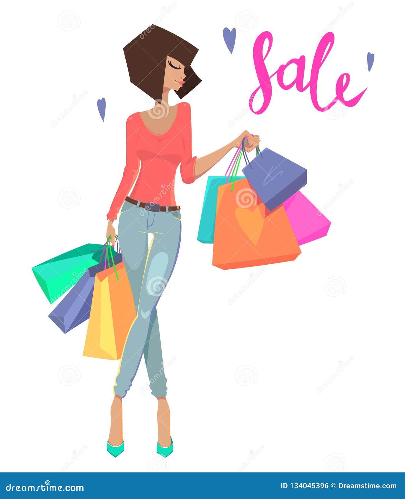 袋子方式购物妇女