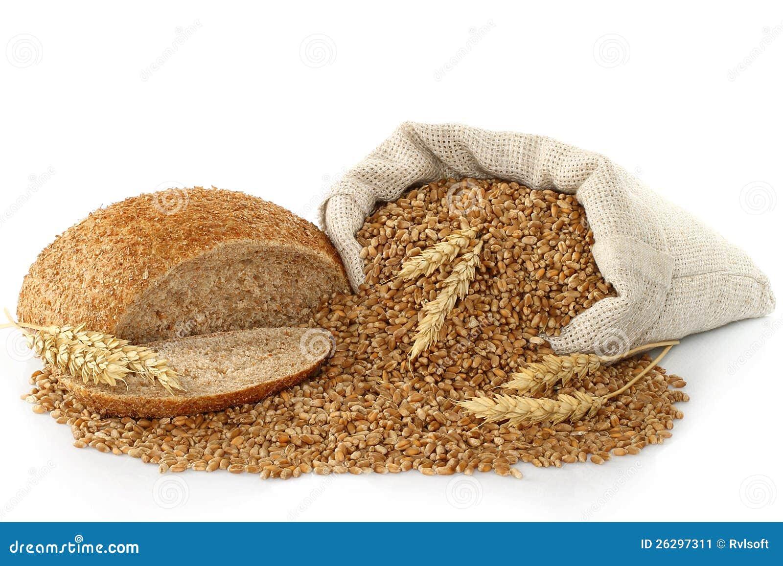 袋子用麦子、面包和耳朵