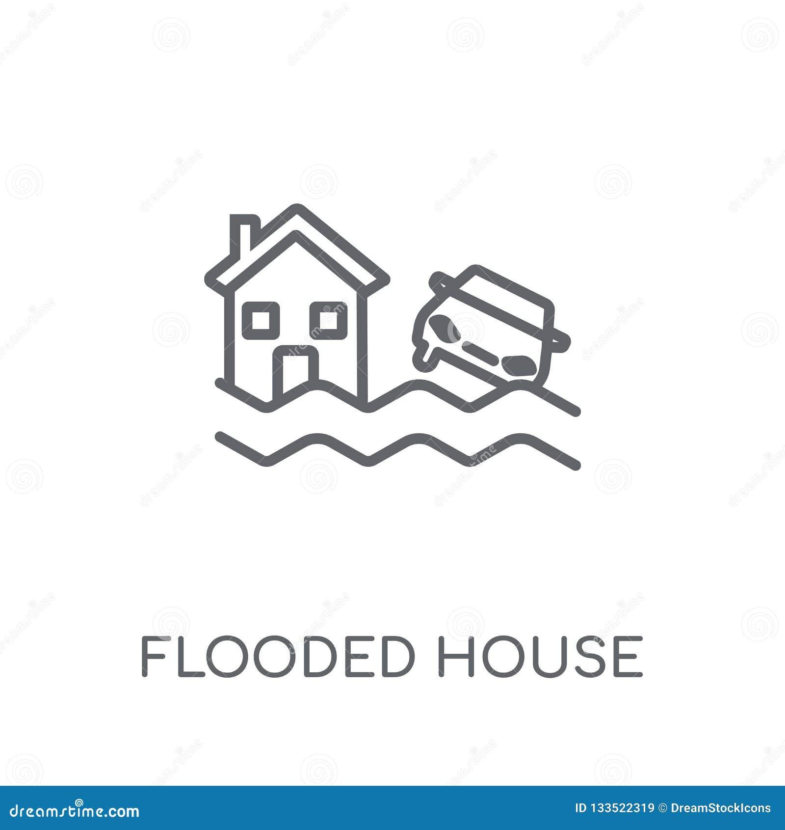 被充斥的房子线性象 现代概述被充斥的房子商标骗局