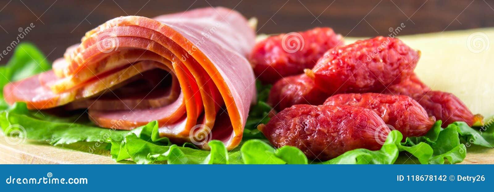 被分类的肉制品包括火腿和香肠 乳酪横幅
