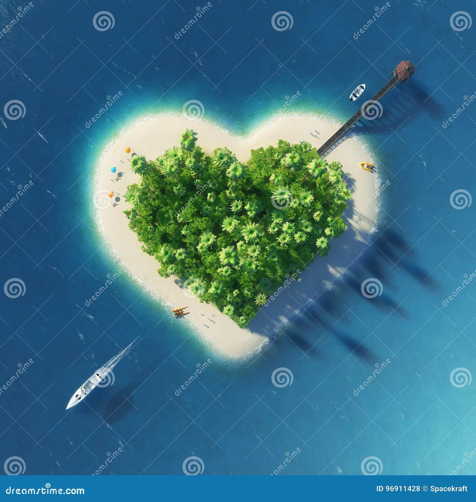 以被刺穿的心脏的形式天堂热带海岛 假日,旅行,放松, eco,自然概念
