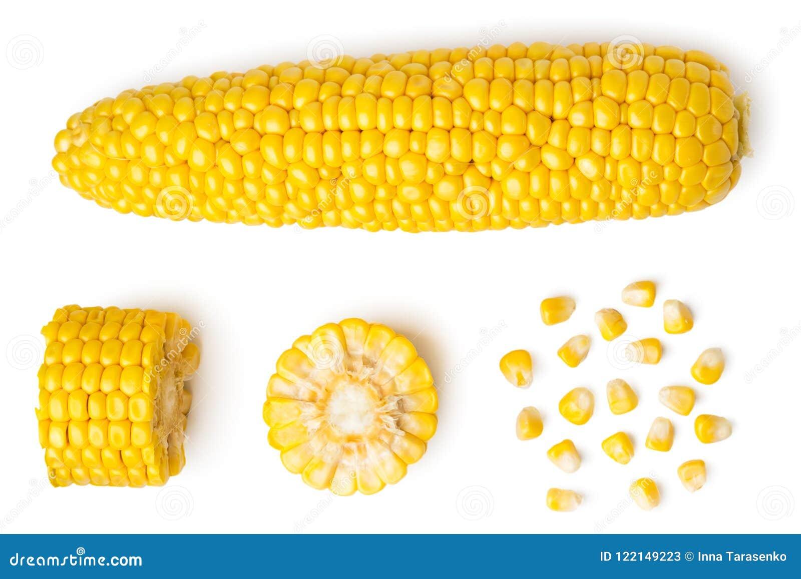 被剥皮的玉米穗,在白色的片断和种子,被隔绝 顶视图图片